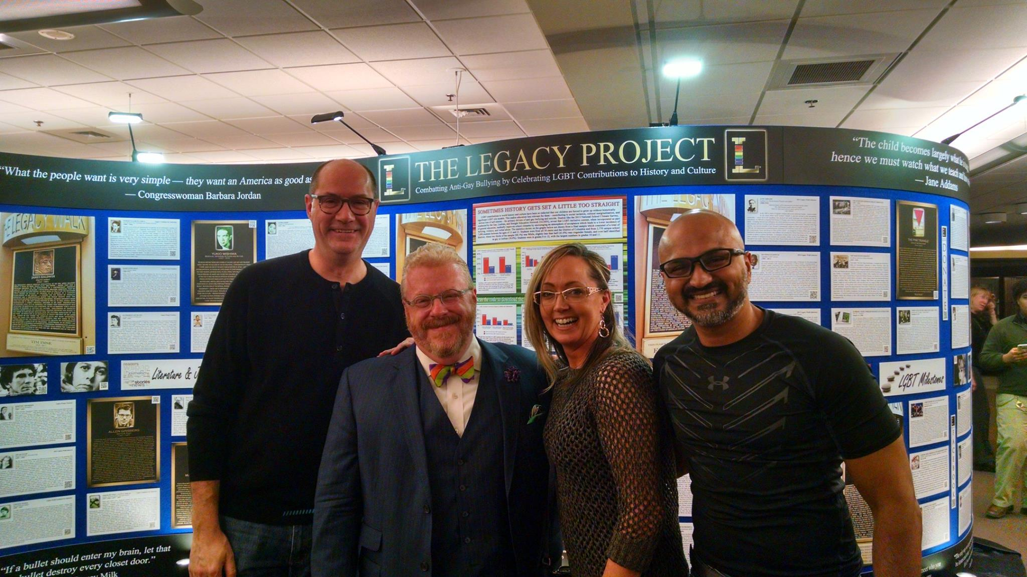 The Legacy Wall, a traveling exhibit featuring stories of LGBT individuals who have made a significant impact in the world, is on display at Illinois Wesleyan University. Seen here Sunday are  David Shields ,  Jonathan Green ,  Cheryl Hussain  and  Tejas Jani  at  Ames Library .
