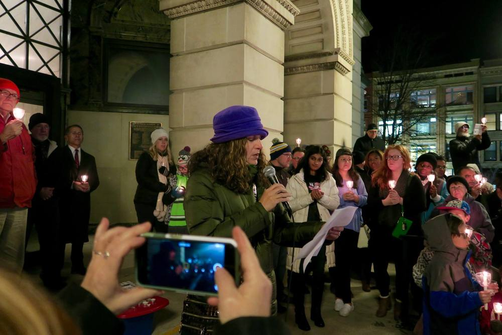 Rabbi Dubowe at December's NIOTBN-sponsored interfaith rally at the old courthouse in downtown Bloomington.