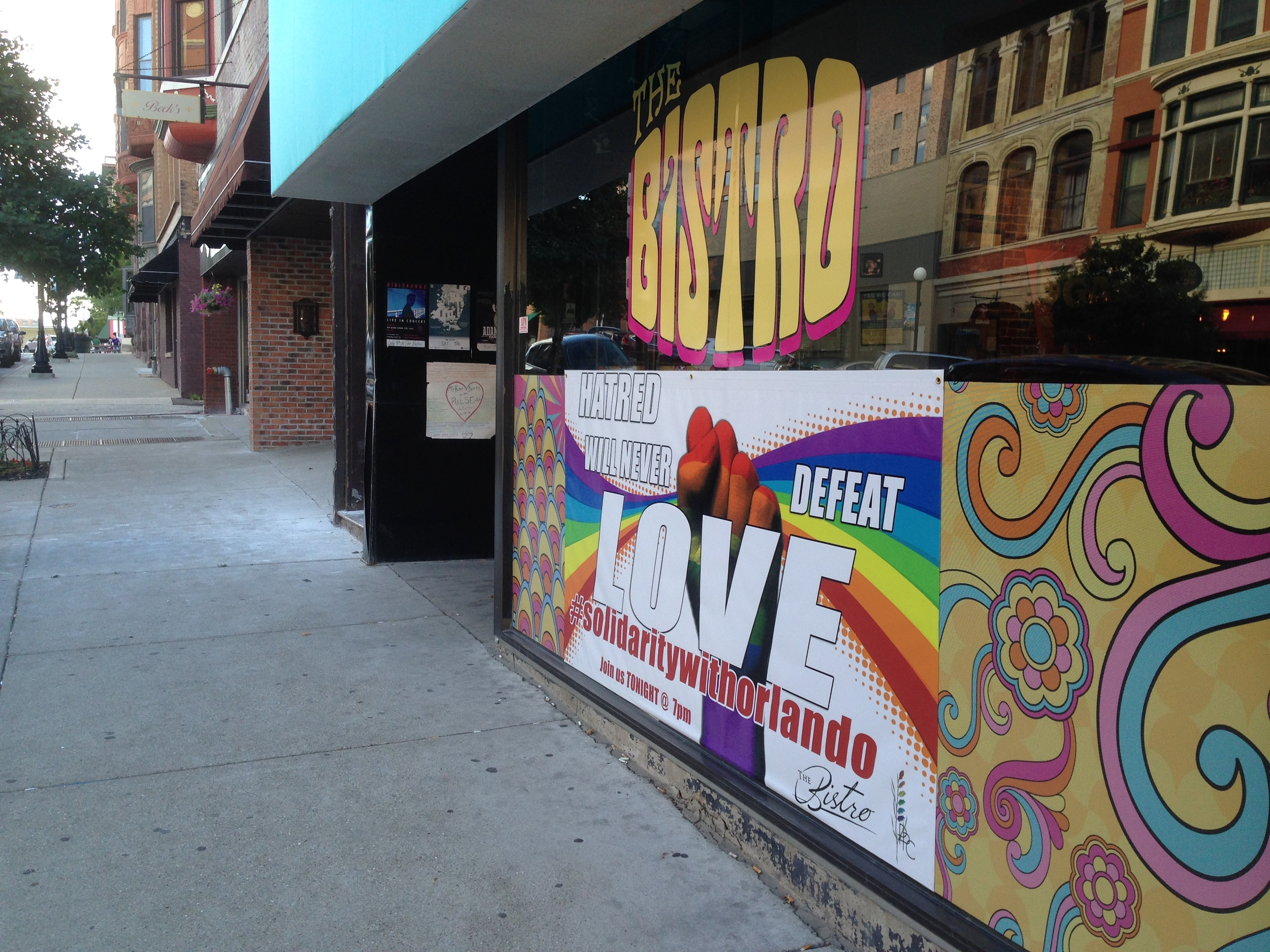 A block off the Old Courthouse square, The Bistro -- a social center of activity for the Twin Cities' LGBT community -- offers a message of strength in the wake of the Orlando tragedy.