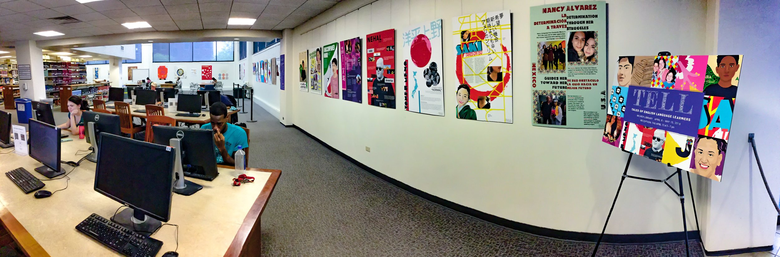 Food For Thought is but one graphic exhibit running through the weekend at ISU's Milner Library.  TELL relates through visuals and narrative the experience of young, local English language learners from a variety of cultures