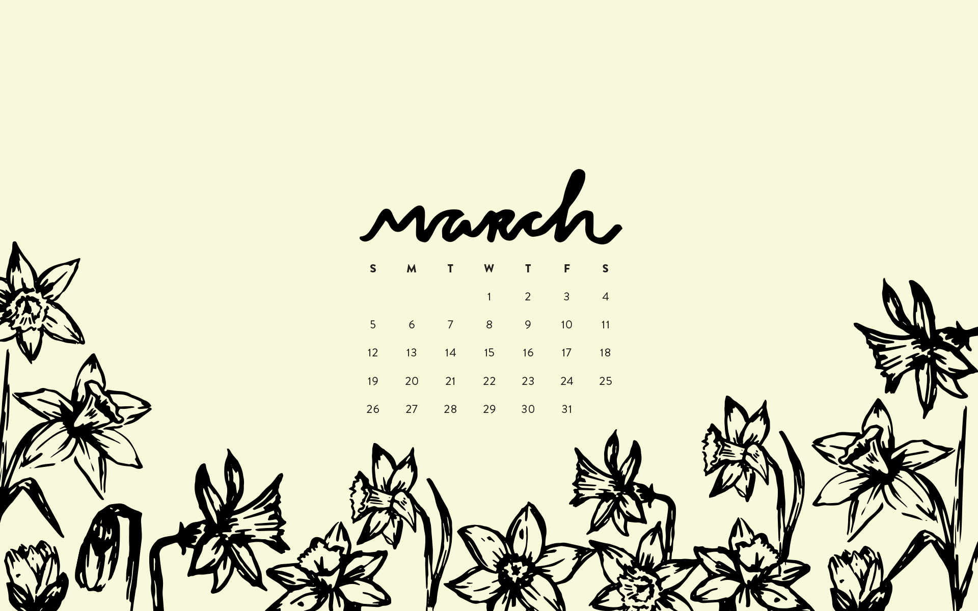 Wallpaper March 2017 Calendar Pattern Britt Fabello