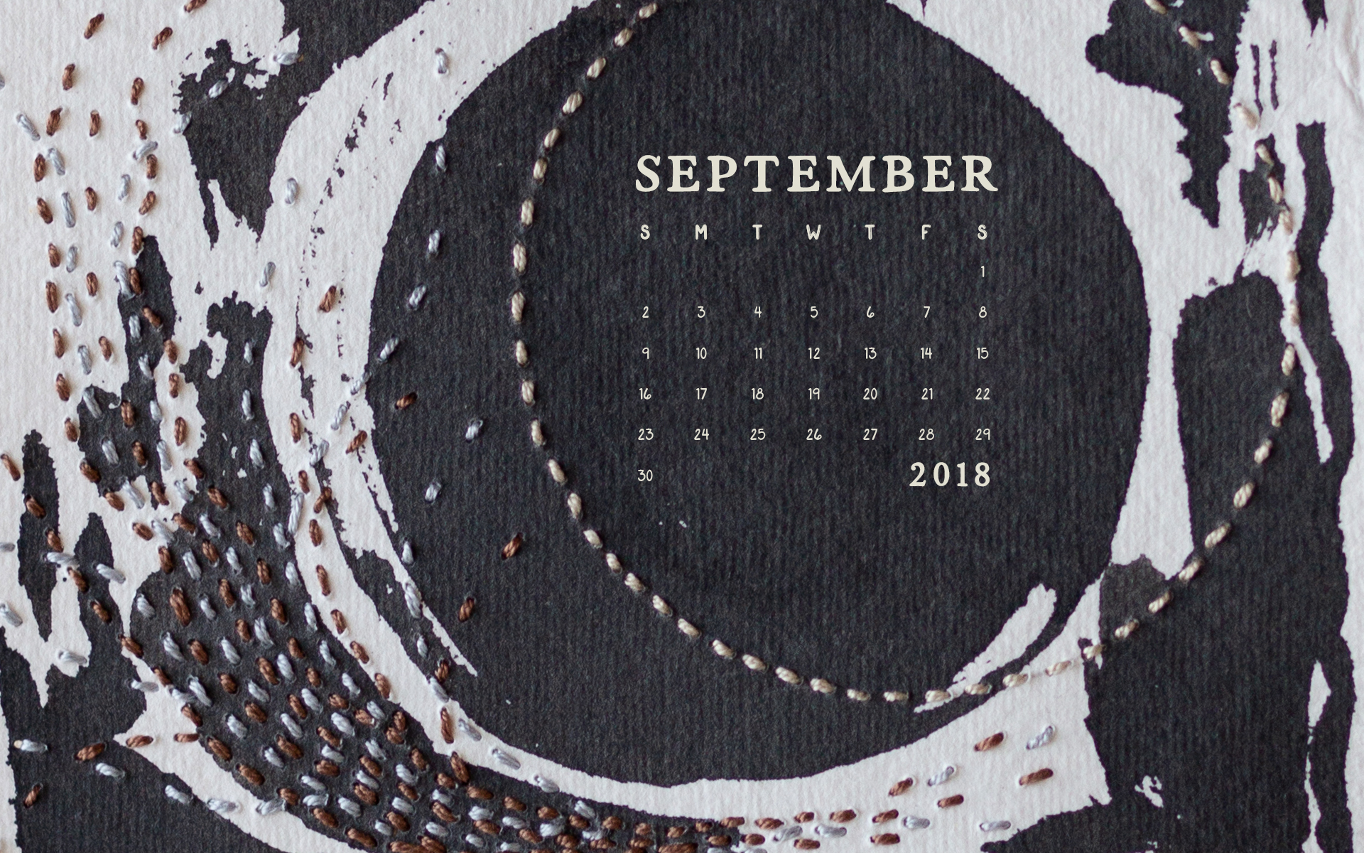 September Desktop Computer Calendar Wallpaper by Britt Fabello