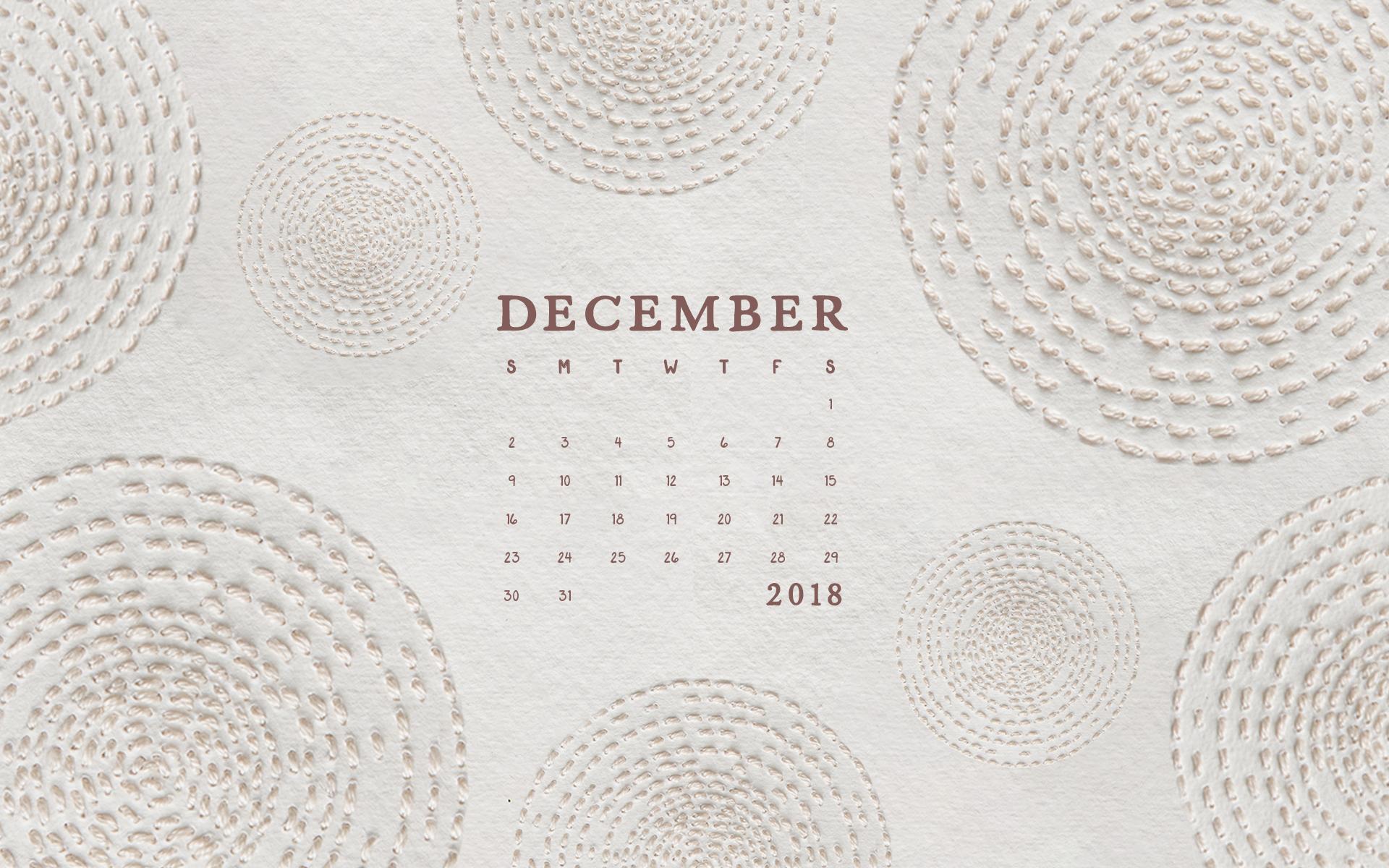 Wallpaper: December 2018 Calendar & Artwork | Computer | Britt Fabello