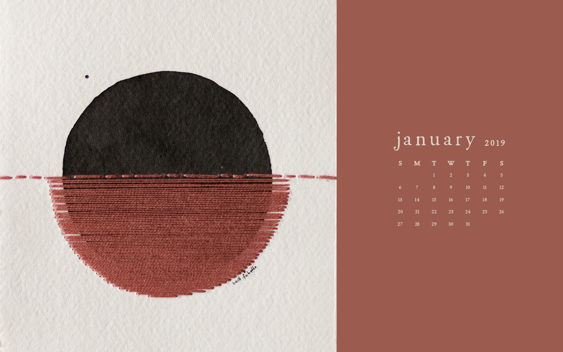 Wallpaper: January 2019 Calendar & Artwork | Computer & Phone | Britt Fabello