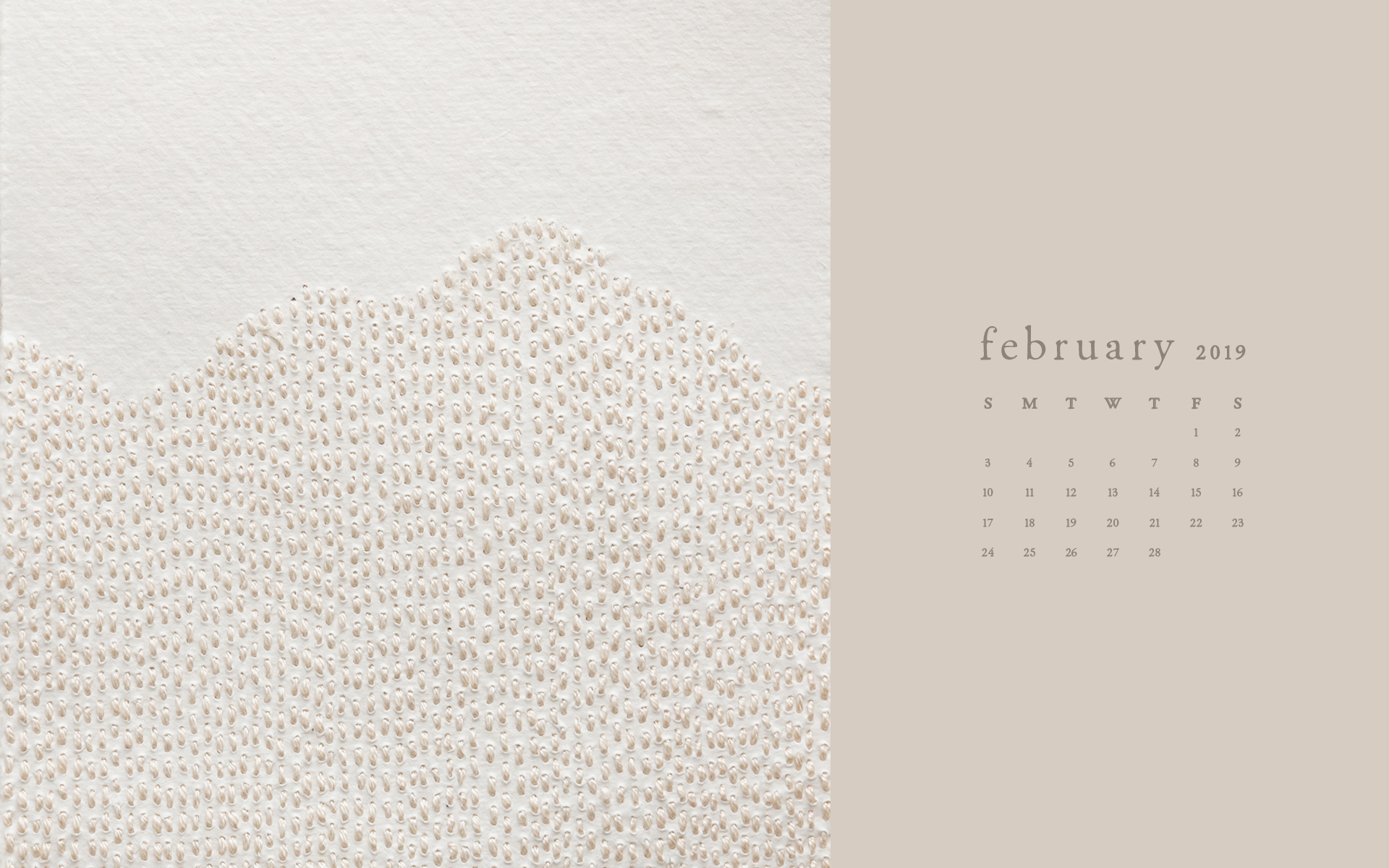 Wallpaper: February 2019 Calendar & Artwork | Desktop Computer | Britt Fabello