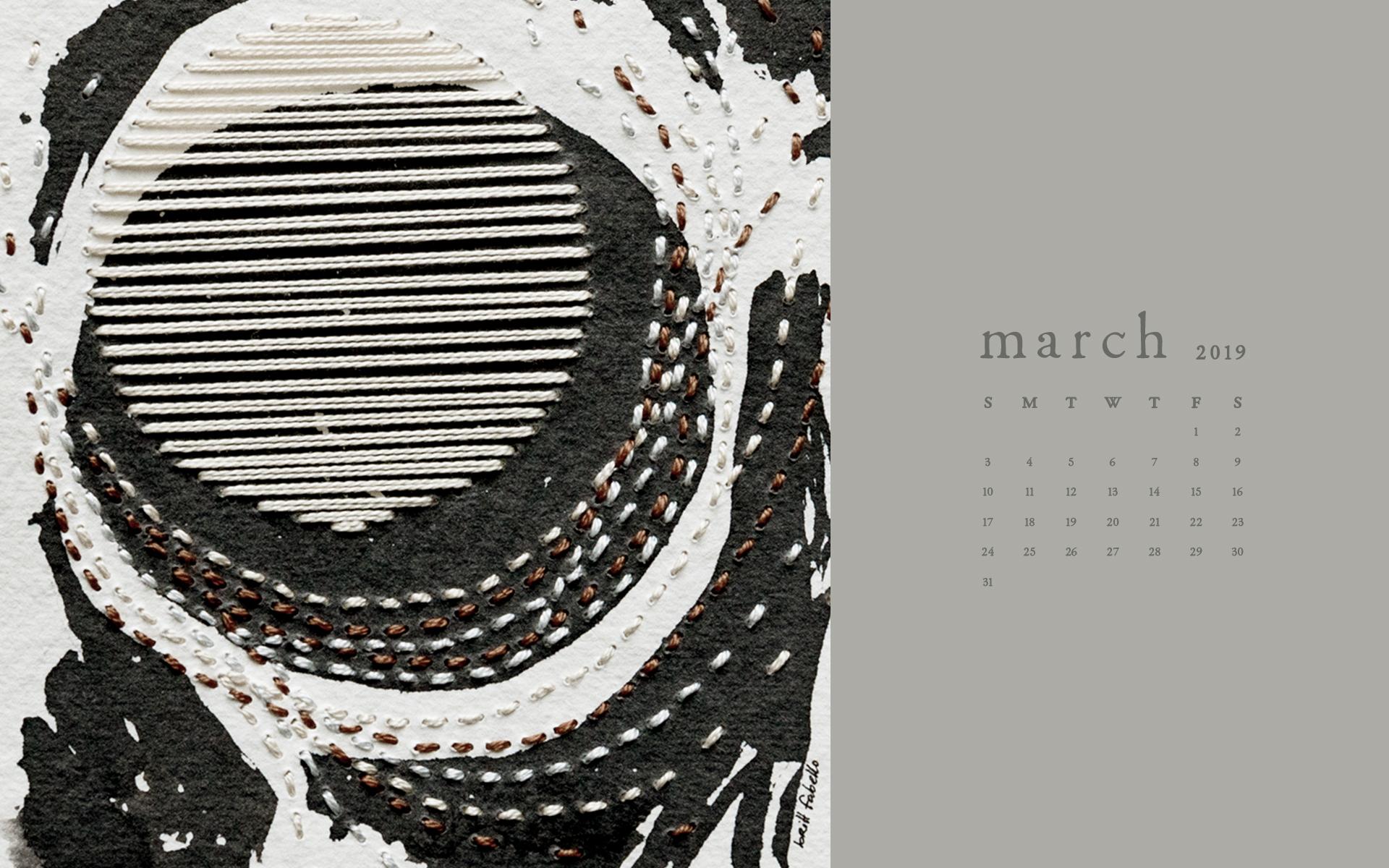 Wallpaper: March 2019 Calendar & Art | Desktop Computer | Britt Fabello