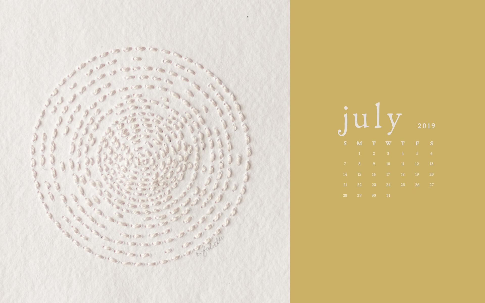 Wallpaper: July 2019 Calendar & Artwork | Desktop and Laptop Computer | Britt Fabello
