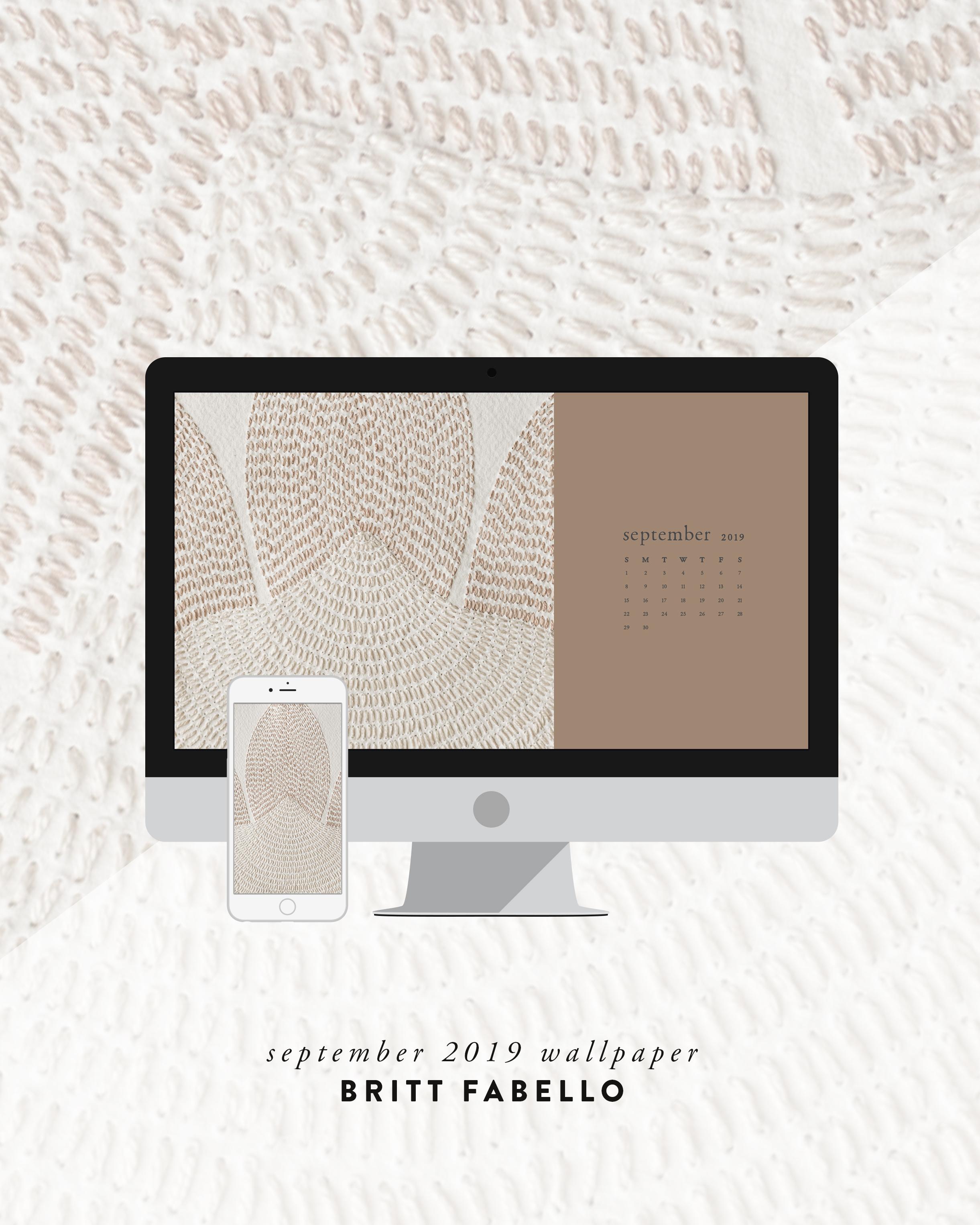 Wallpaper: September 2019 Calendar & Artwork   Computer & Phone   Britt Fabello