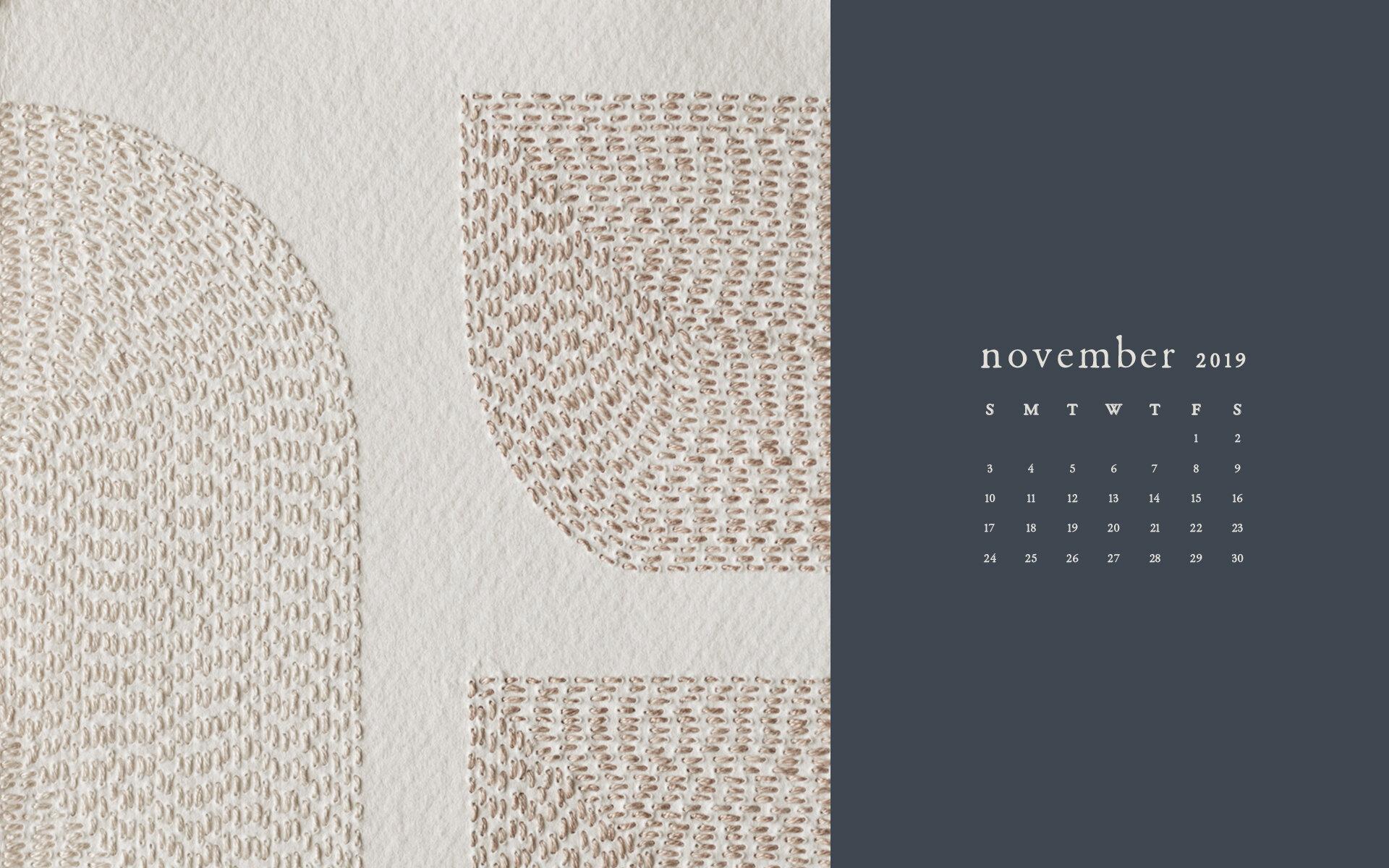 Wallpaper: November 2019 Calendar & Artwork | Computer | Britt Fabello