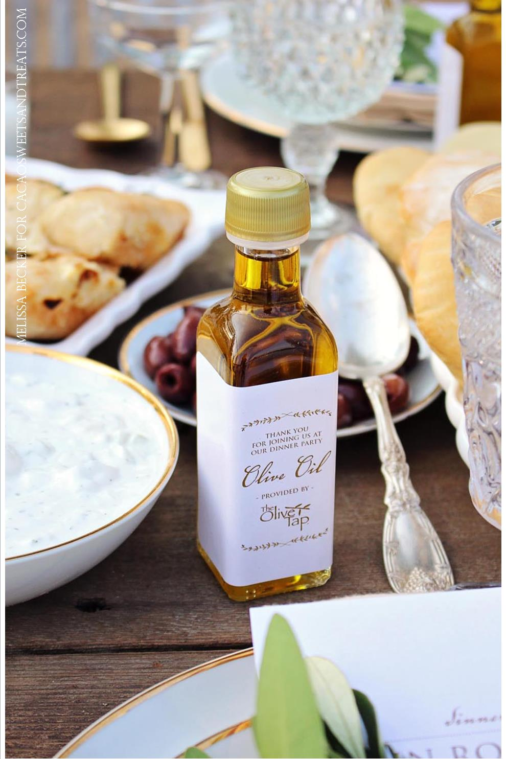 grecian dinner party with olive oil favors from the olive tap melissa becker photography for cacoa sweets and treats.jpg