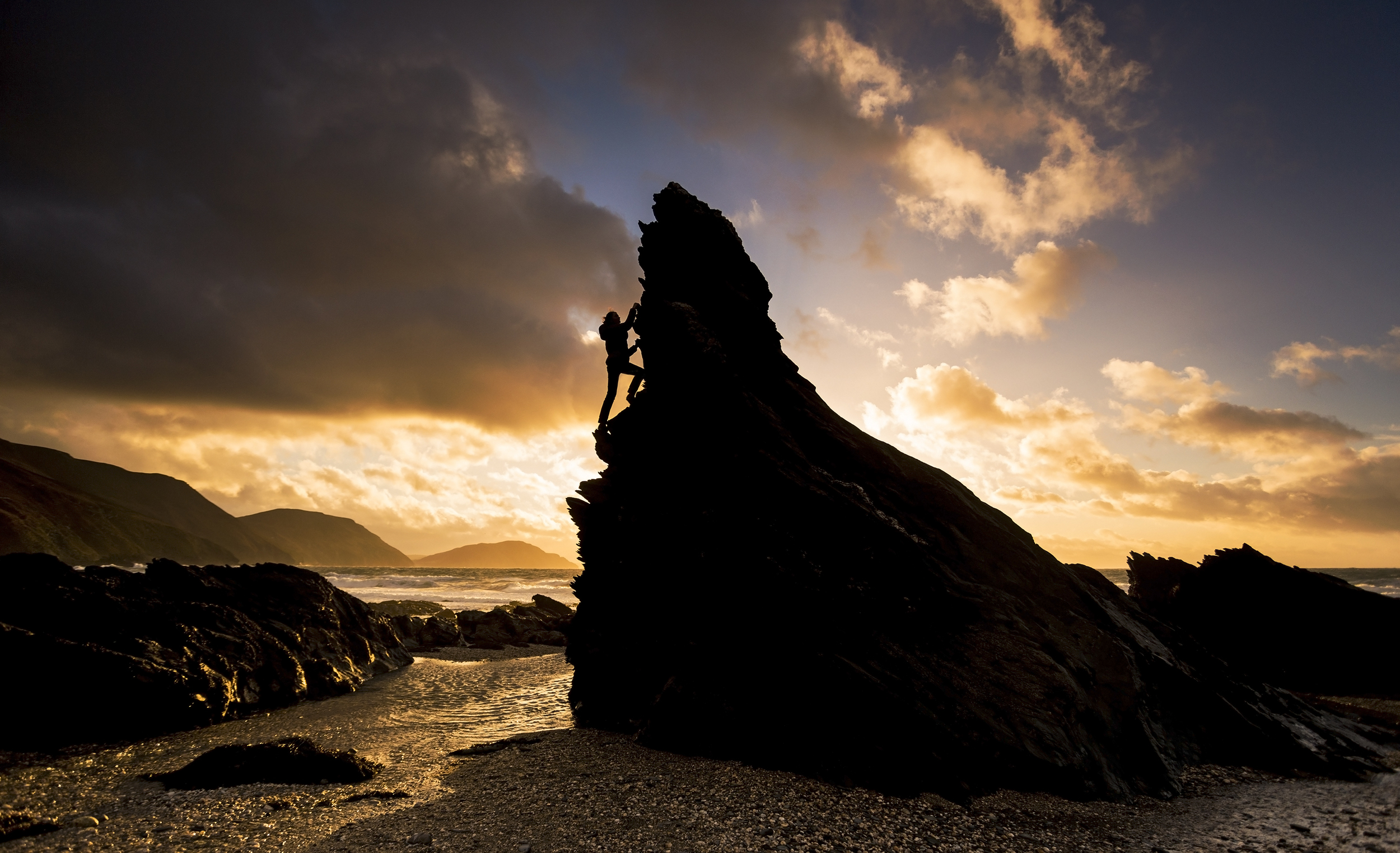 Bouldering at White Beach on the Isle of Man.