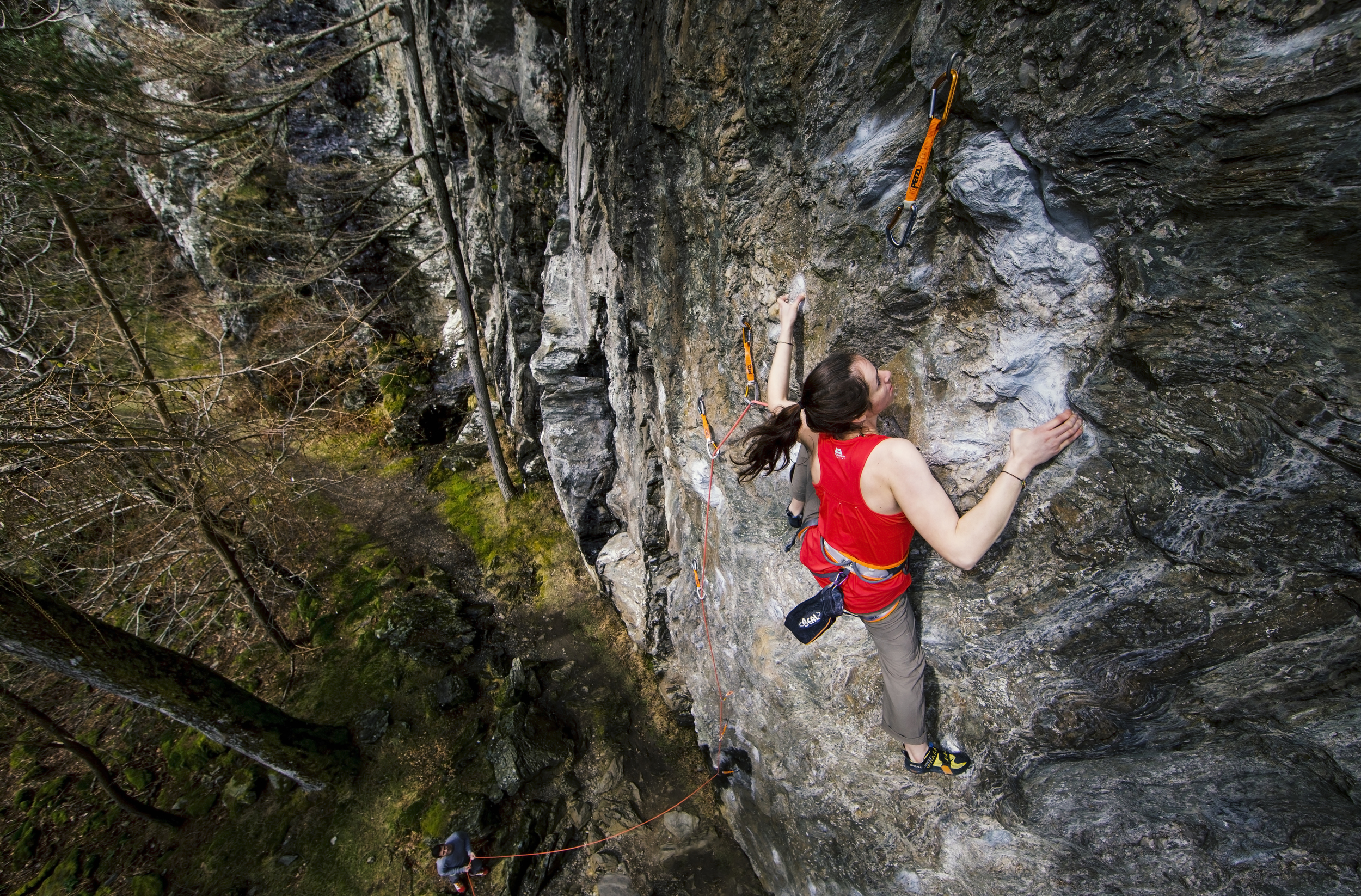 Natalie Berry on the classic 'Hamish Teddy's Excellent Adventure' at Dunkeld. Shot with Canon 6D + Canon 14mm f2.8 + LEE Filters 0.6 Soft Grad ND (held over lens!).