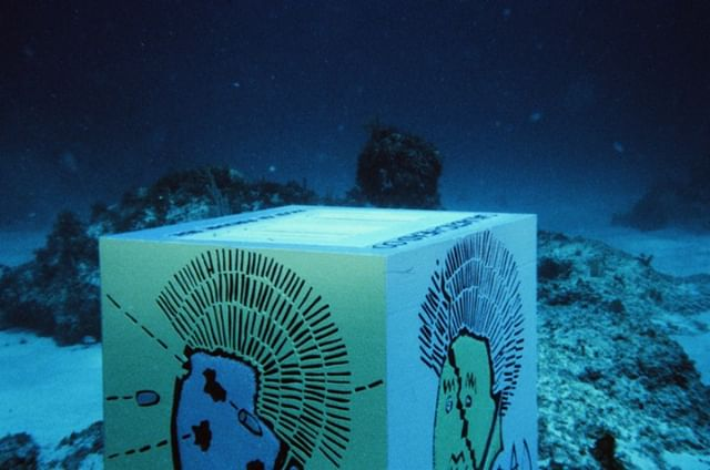 Get some #scuba gear and visit this #underwater art block on the bottom of the #ocean in the Bahamas. But you'll have to find it first... #35mm #lost