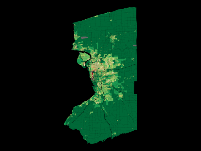 Value per acre in Buffalo, NY. In visualizing the entire community our view is dominated by the physically largest properties. The most efficient and most important properties, such as downtown, are quite small and hard to make out.