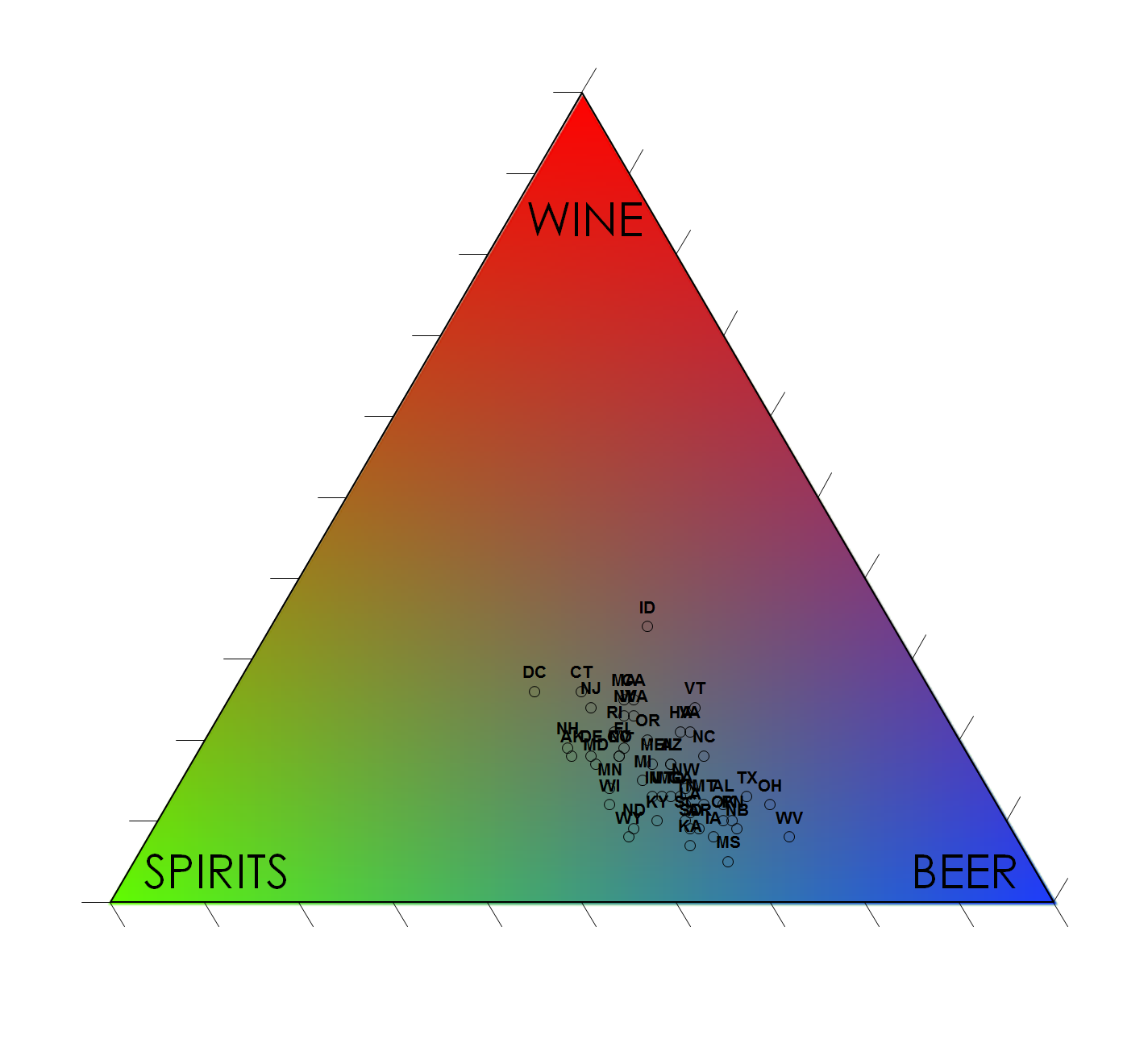 This is a  ternary plot  which is a fun way to show how a feature is split between three elements. In this case the consumption of three types of alcohol. It also serves as a legend for the classes on this map.