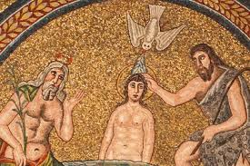 Jesus baptized by John; mosaic, 6th century, Ravenna, Italy