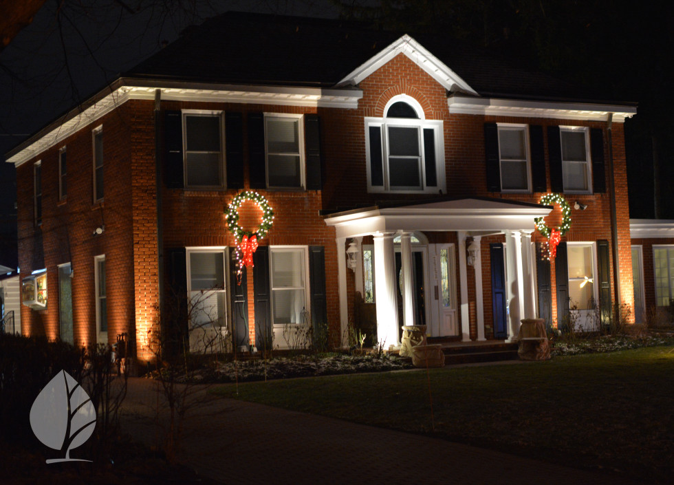 Architectural Lighting can compliment holiday decorations.