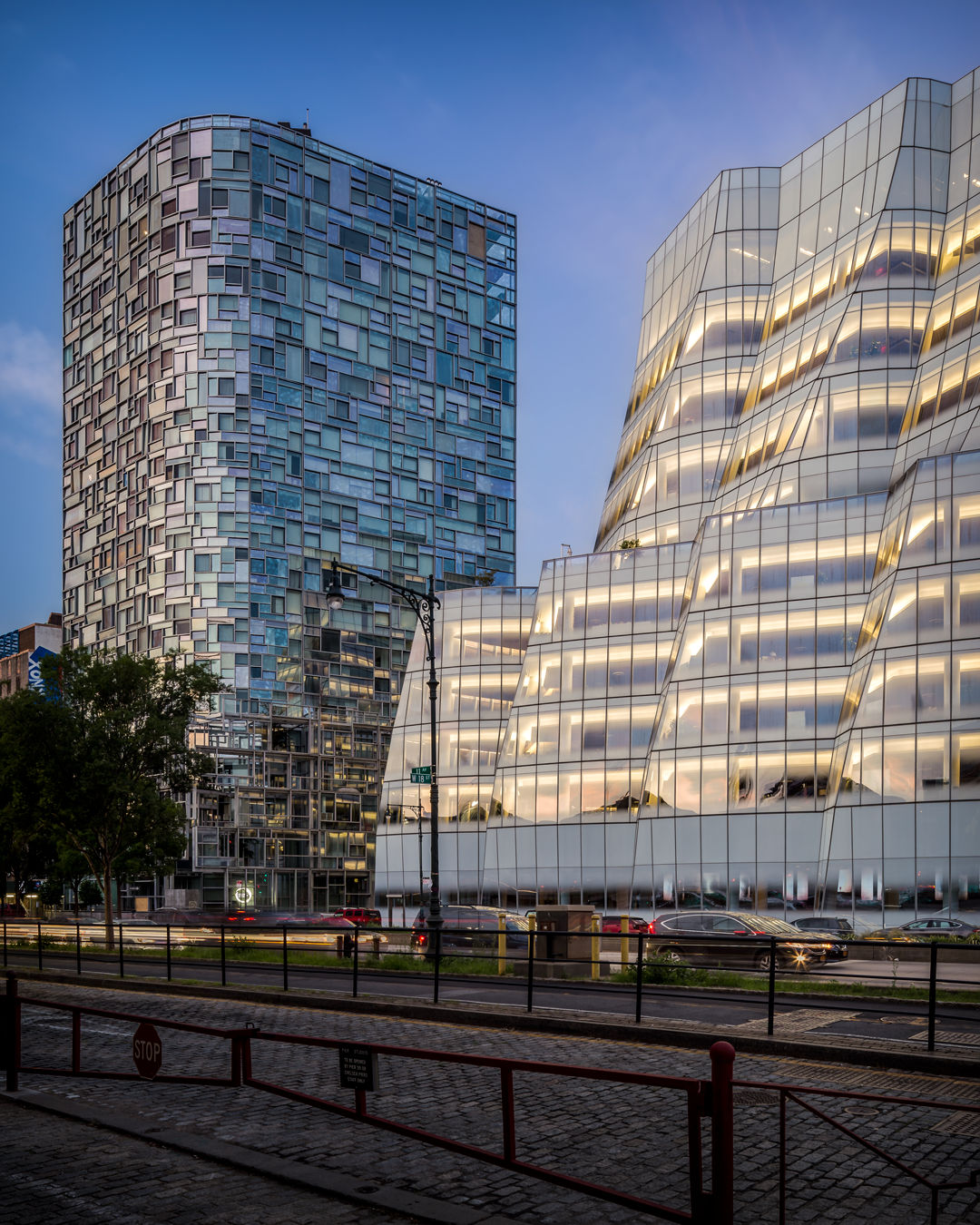 IAC Building by Frank Gehry and 100 Eleventh Avenue by Jean Nouvel located in the Chelsea neighborhood of Manhattan. Photo credit: Eric Soltan