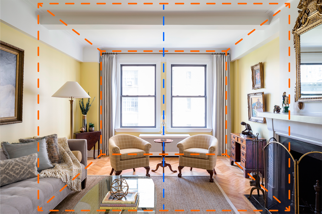 The camera is not exactly in the middle of the room, instead it is precisely in the middle of the two windows. The one point perspective works well here architecturally and also features the interior design of the space.