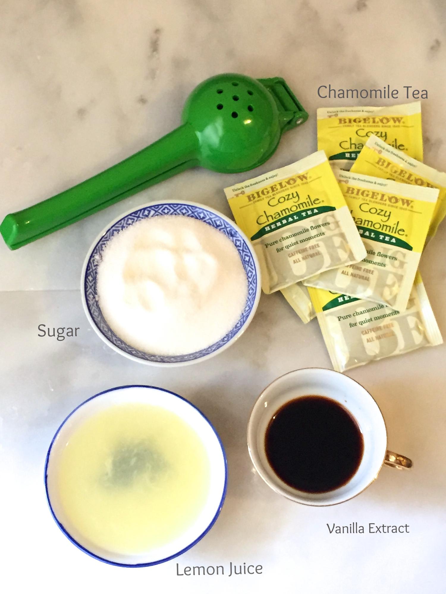 Sugar, chamomile tea bags, vanilla extract, and lemon juice