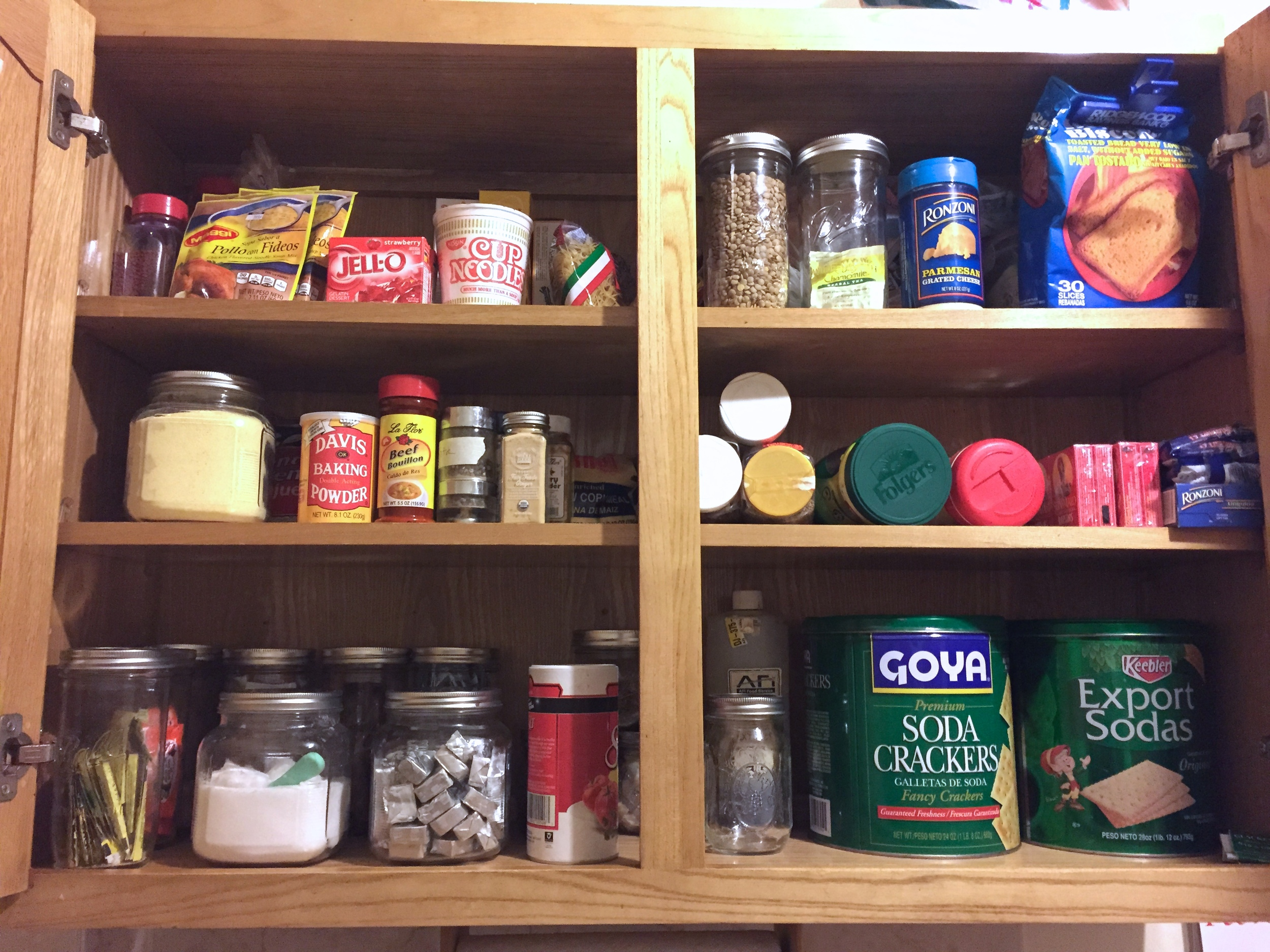 Place the most used items up front when organizing your cabinet