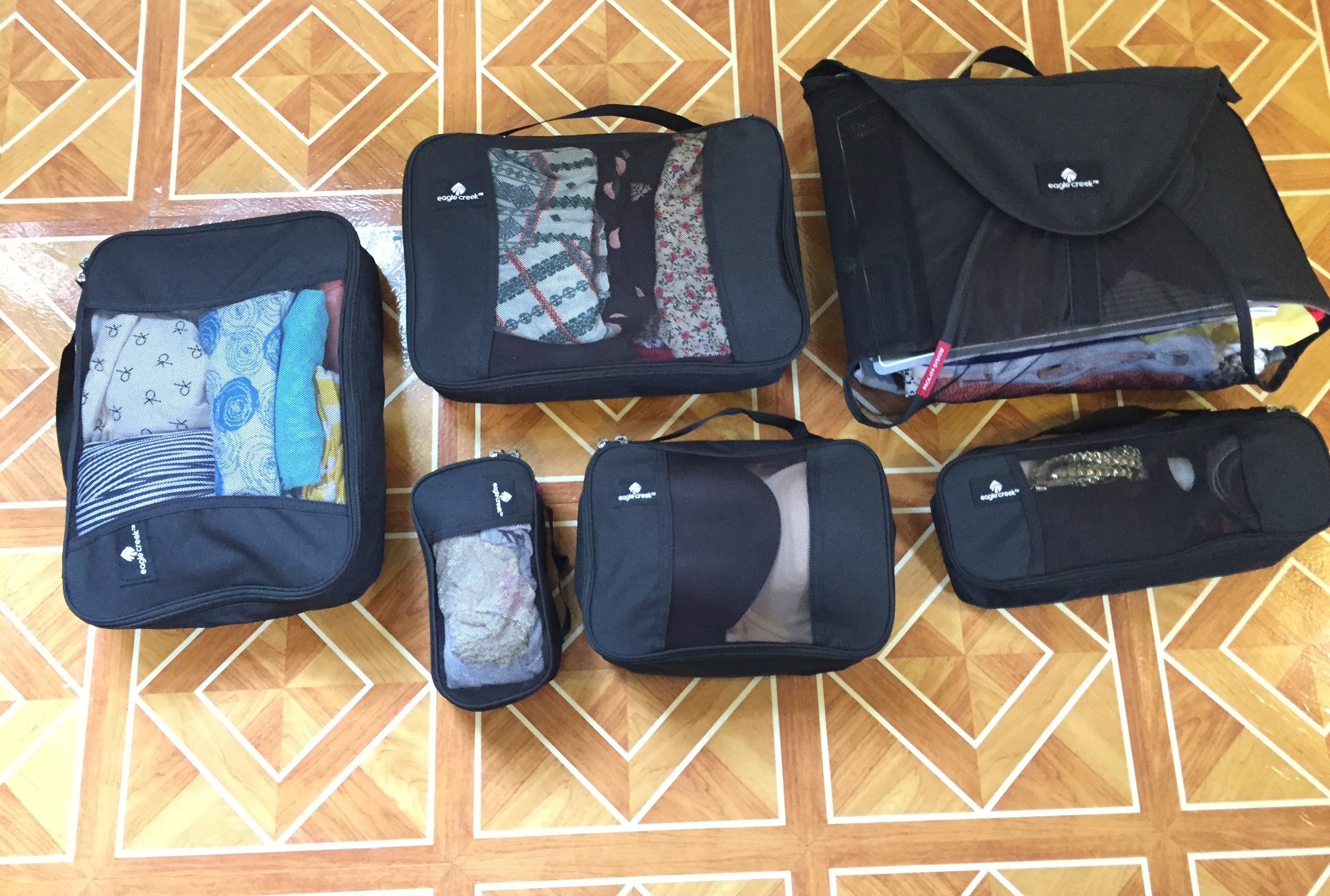 Everything is organized into different packing cubes