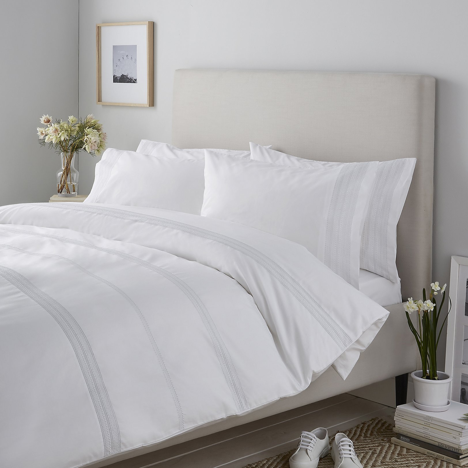 If you're on the hunt for a special crisp white bedding collection or duvet cover, look no more. We've found the absolute best with gorgeous embroidery both on the duvet cover and pillow case. We love this one because it is the perfect update to your classic white and bland bedding. The romantic and graceful touches are a huge plus!