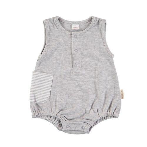 Sleeveless Baby Romper - Gray Stripes