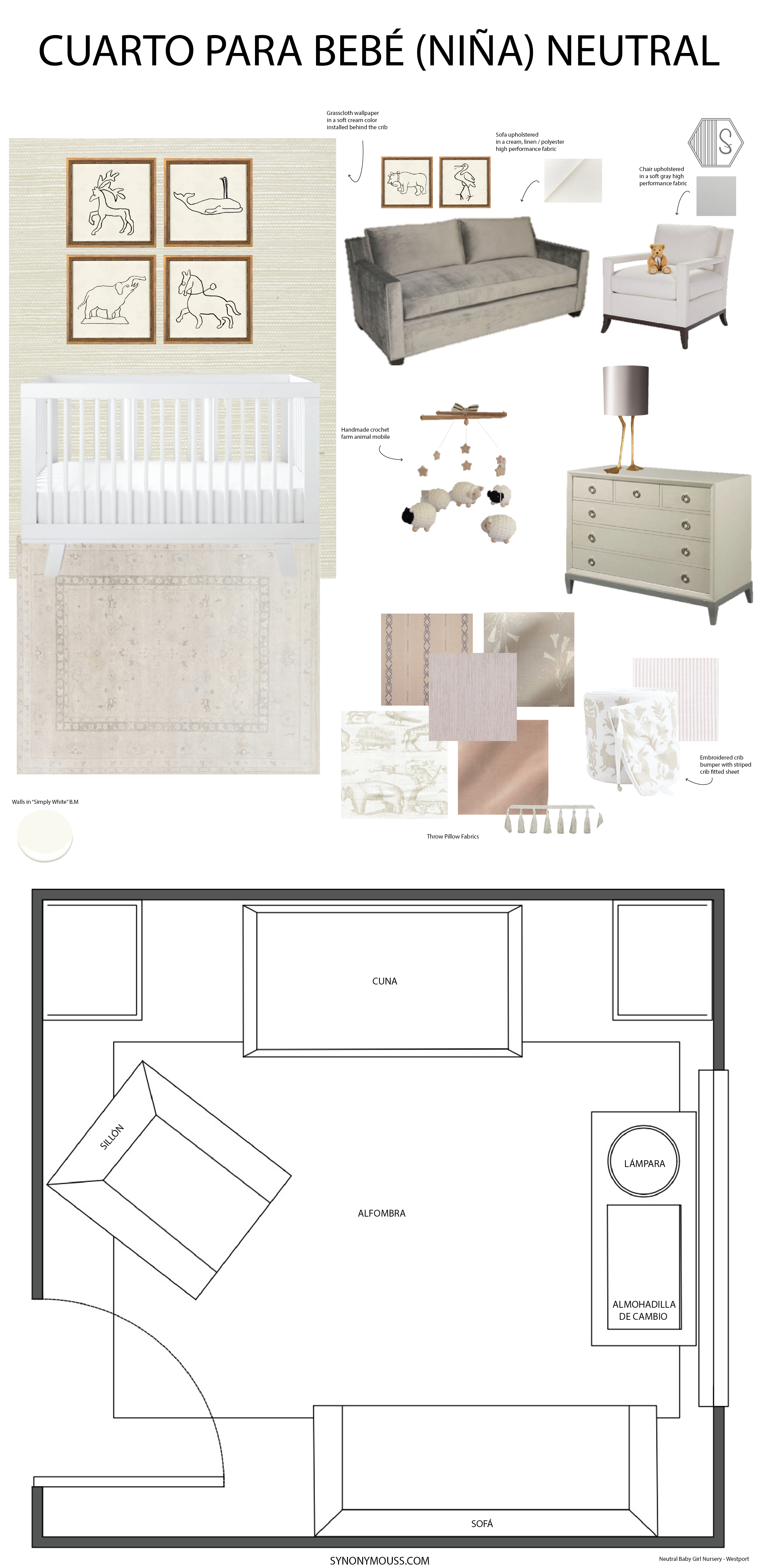 Neutral Baby Girl Nursery (Cream, taupe and dusty pink color palette) - SYNONYMOUS
