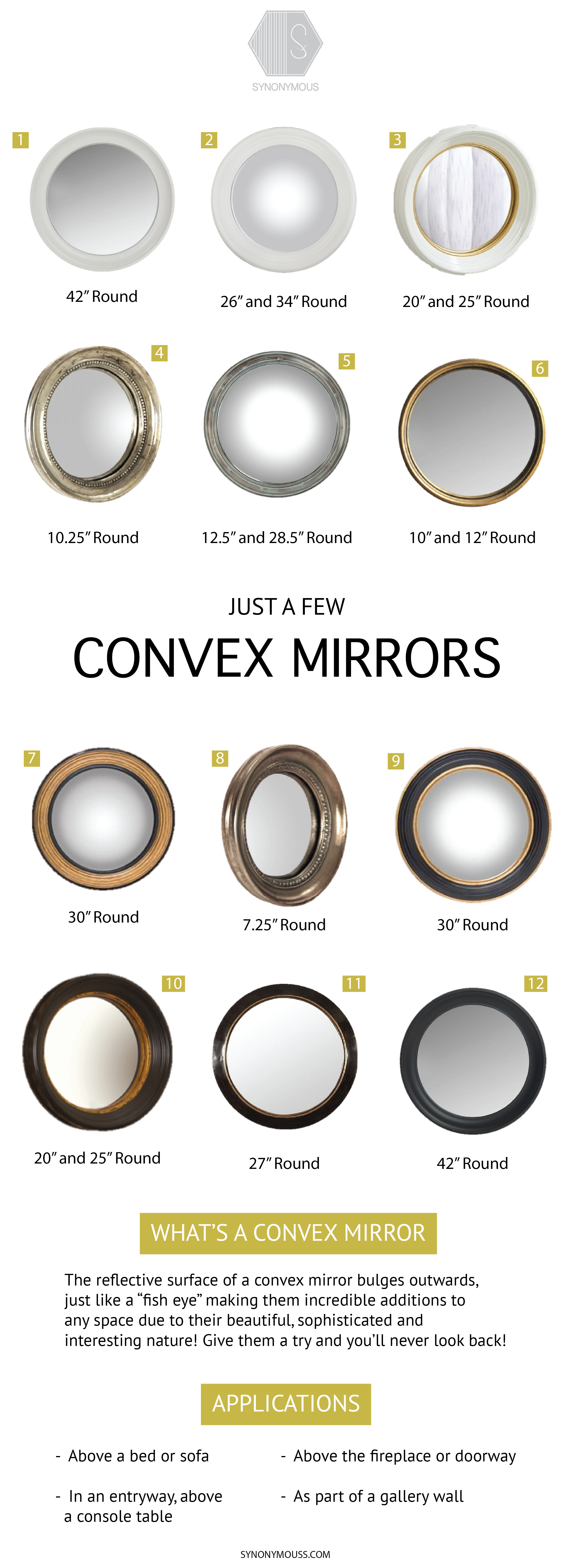 The Beauty of Convex Mirrors - Round Mirrors - Convex Mirror Round-up - Featured Mirrors can be purchased through synonymouss.com - SYNONYMOUS