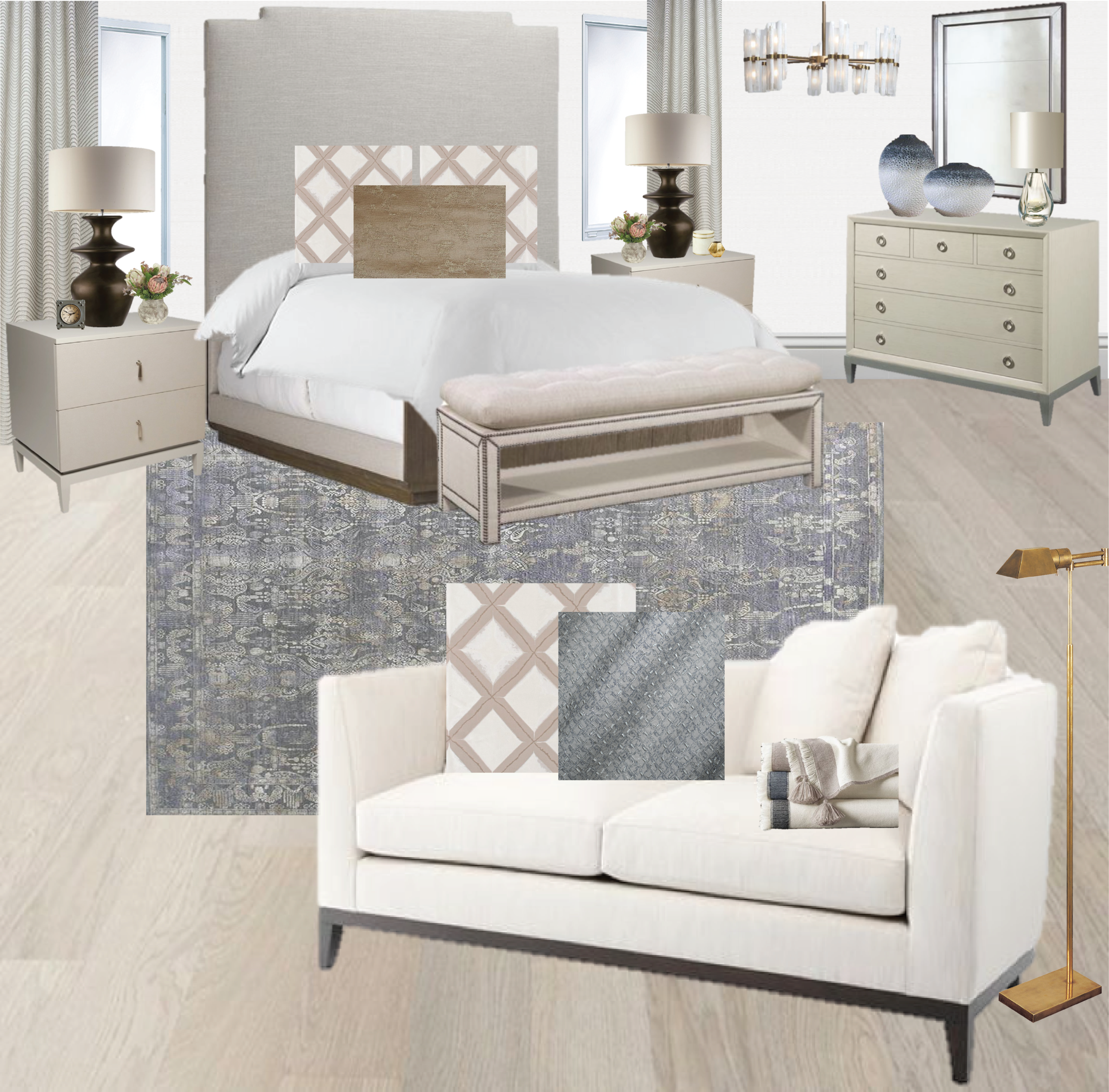 Master bedroom ideas  white walls   master bedroom   guest bedroom ideas   bronze table lamp   brass lamp   rock crystal chandelier   blue rug   purple rug   vintage rug   small sofa   pom pom throw   Synonymouss.com   Synonymous Interior Design Firm NYC