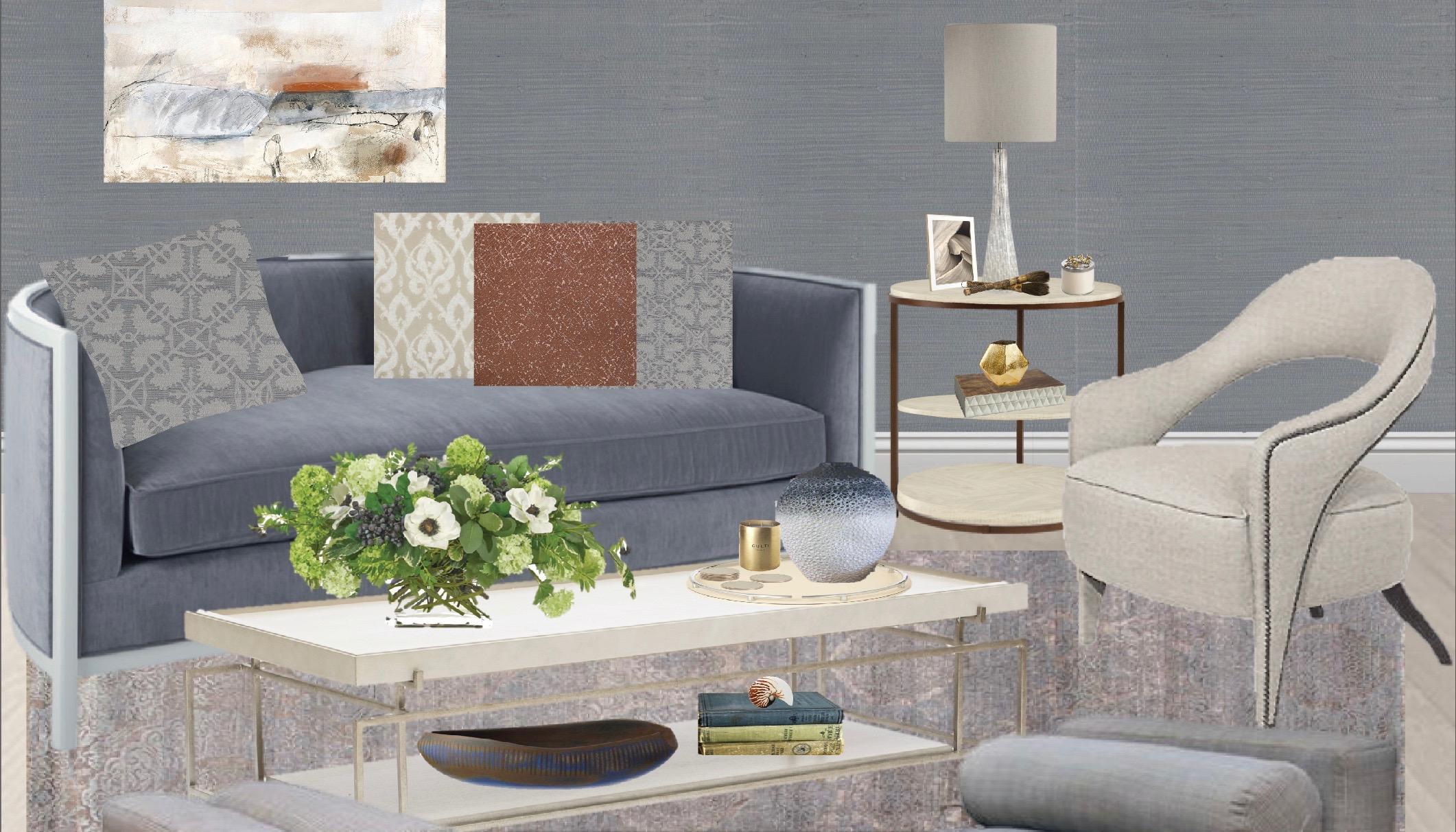 Monochromatic living room, color palette ideas, blue sofa, Blue Tonal Living Room by Synonymous — Synonymouss.com