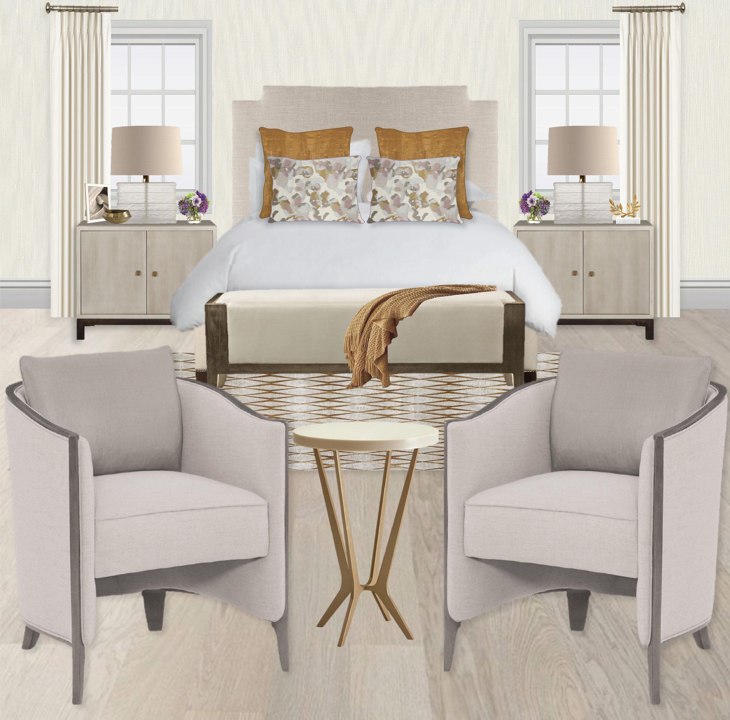 Monochromatic living room, mint sofa, glass lamp, upholstered headboard, custom pillows. Fresh Celadon Green Bedroom by Synonymous — Synonymouss.com