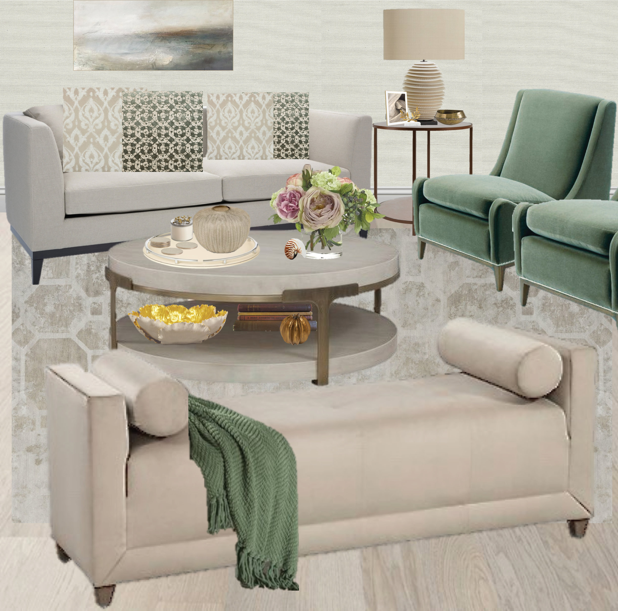 Monochromatic living room, tone on tone, green pillows, pattern ideas, brass coffee table, tufted bench. Subtly Rustic Living Room by Synonymous — Synonymouss.com