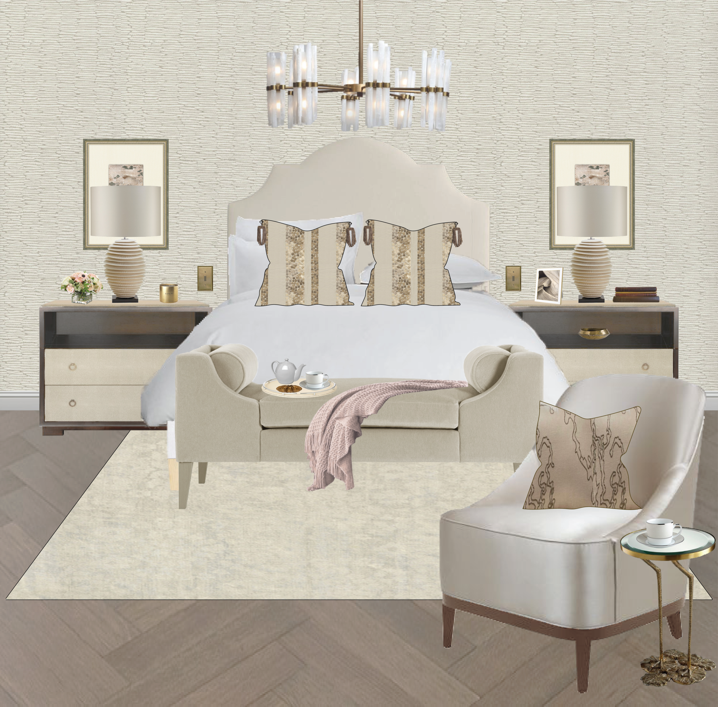 Opulent Master Bedroom   A champagne, gold, taupe and dusty pink color palette was utilized for an exquisite retreat with subtle cues from nature seeing in the patterns and textures throughout.