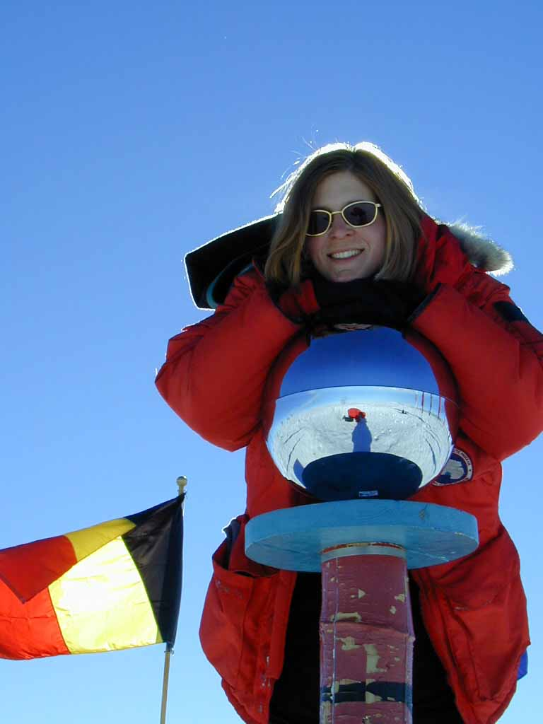 Katherine at the ceremonial Geographic South Pole, Dec 1999