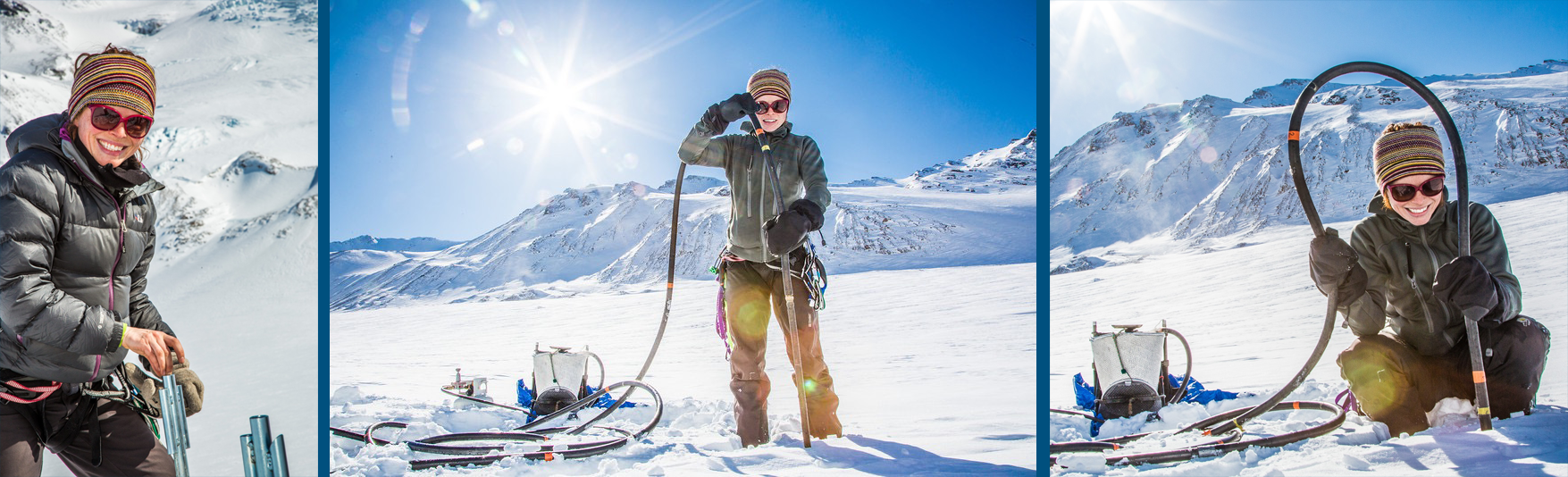 Joanna is   i  nstalling instruments to monitor local weather conditions on the Jarvis Glacier in the Alaska Range,  photoes by      U AF photographer Todd Paris