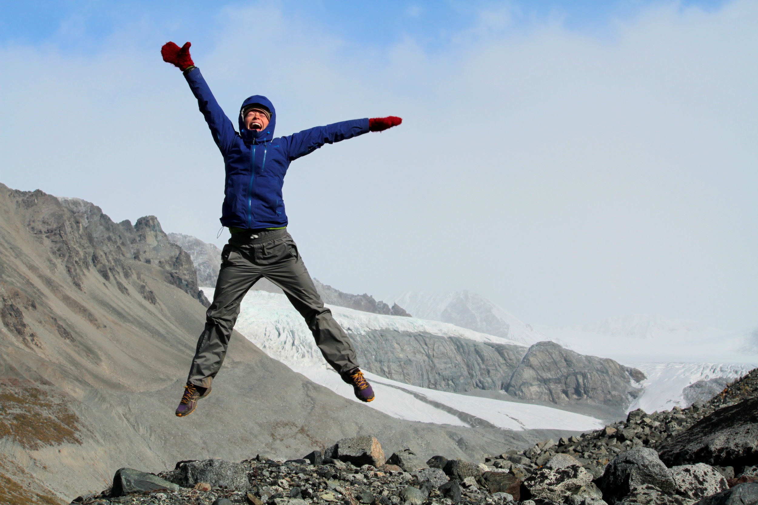 Being overjoyed at the Gulkana Glacier in the Alaska Range, photo by Bryce Weibley