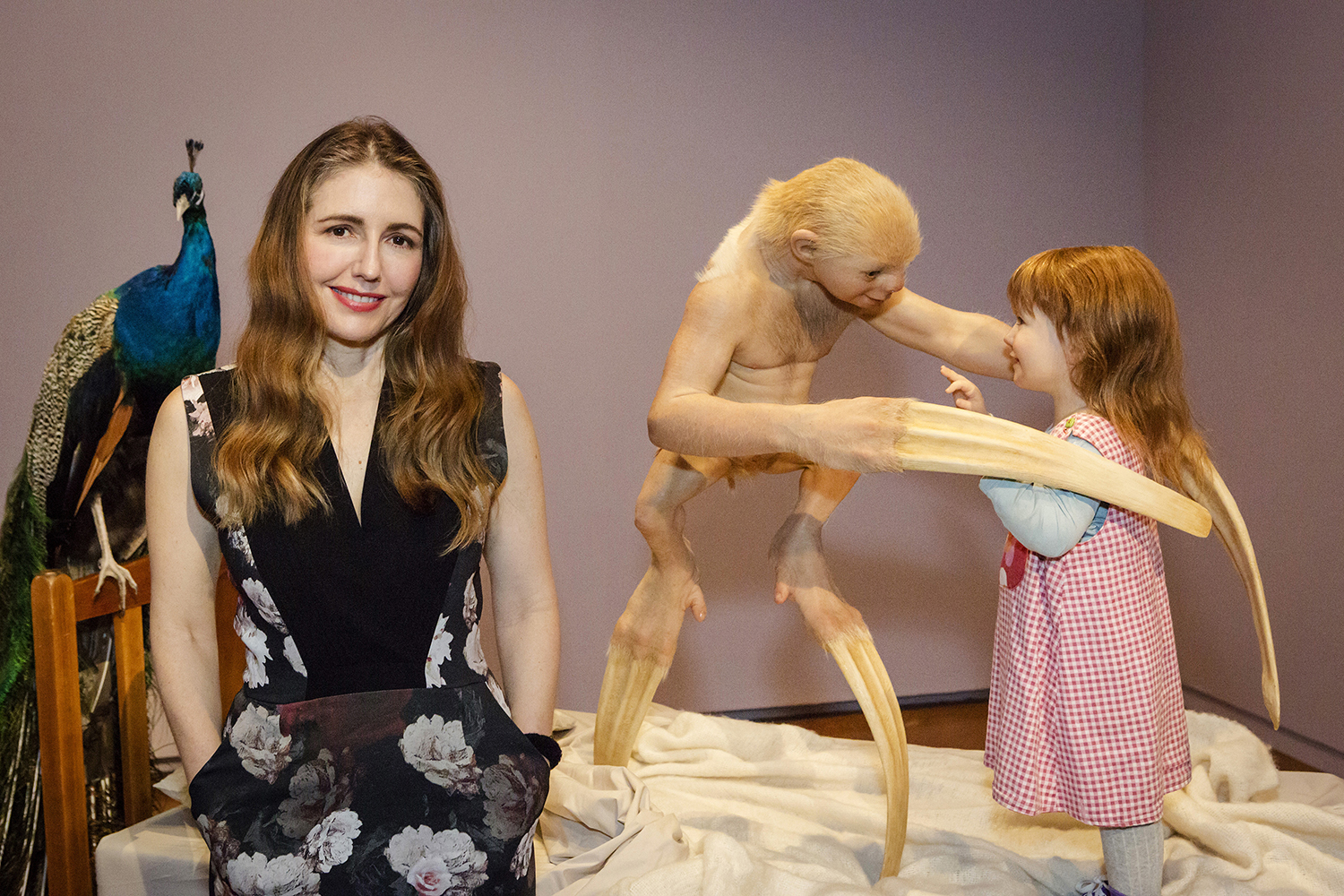 Patricia Piccinini with her work  The welcome guest  National Gallery of Australia, Canberra