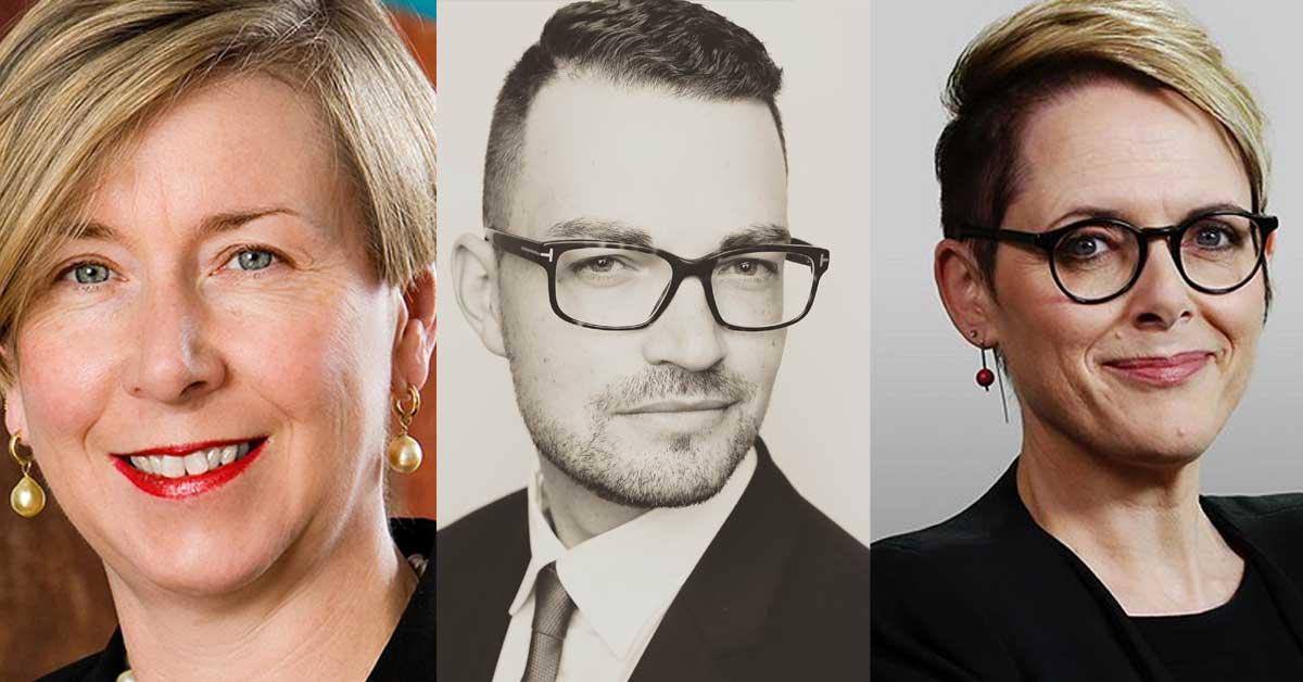 Former Dept of Finance Secretary Jane Halton, Bevan Shields (Fairfax Media) and Sabra Lane (ABC)