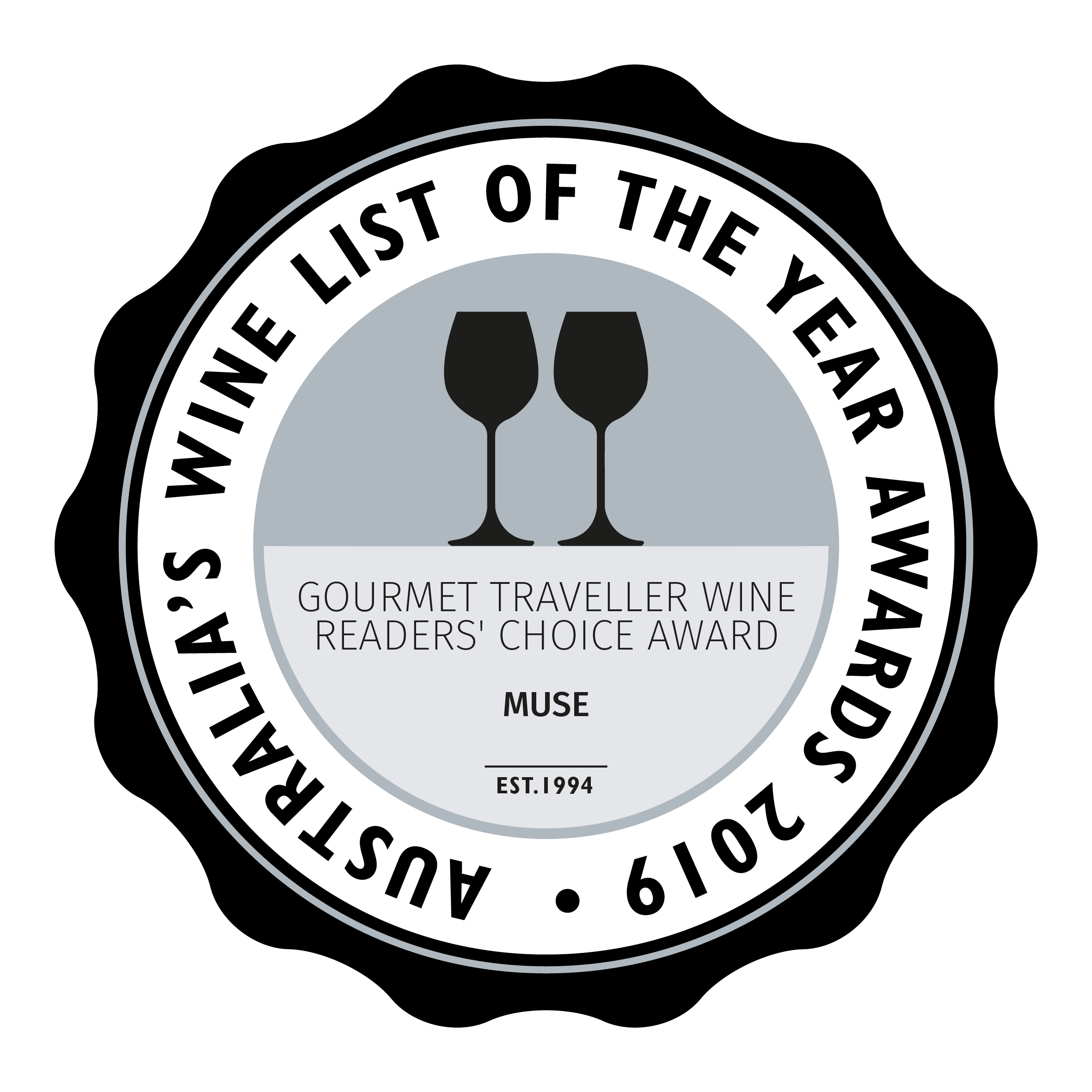 Two Glasses - 2019, 2018, 2017 Australia's Wine List of the Year Awards  WINNER - Gourmet Traveller WINE Readers' Choice Award Australia's Wine List of the Year Awards 2019  FINALIST - Best Listing of Australian Wine 2019. 2018 Australia's Wine List of the Year Awards  FINALIST - ACT Wine List of the Year 2018, 2017 Australia's Wine List of the Year Awards