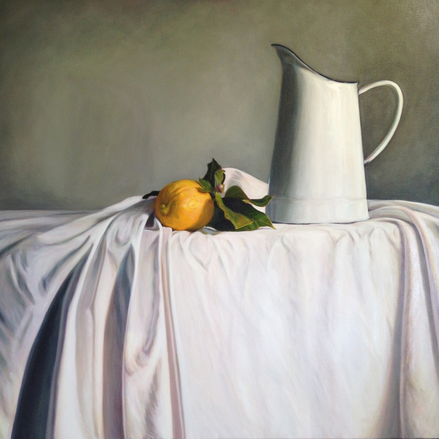 White Jug and Lemon   Oil on Canvas, 84 x 84 cm
