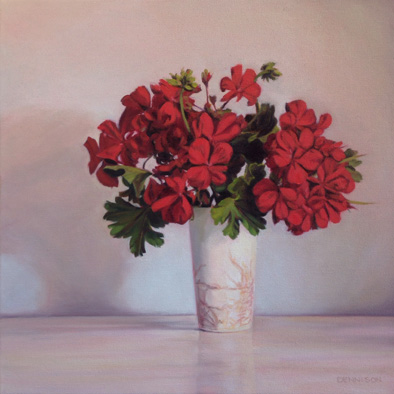 Geraniums   Oil on Canvas, 41cm x 41cm