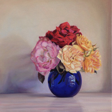 Roses and Blue Vase   Oil on Canvas, 35.5cm x 35.5cm