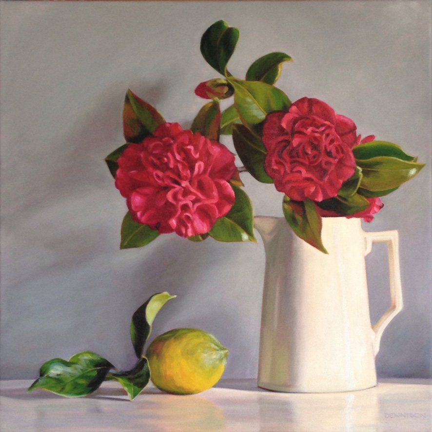 Red Camellia and Lemon   Oil on Canvas, 51cm x 51cm