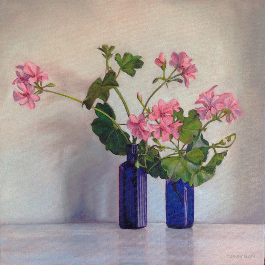 Pink Pelargoniums   Oil on Canvas, 41cm x 41cm