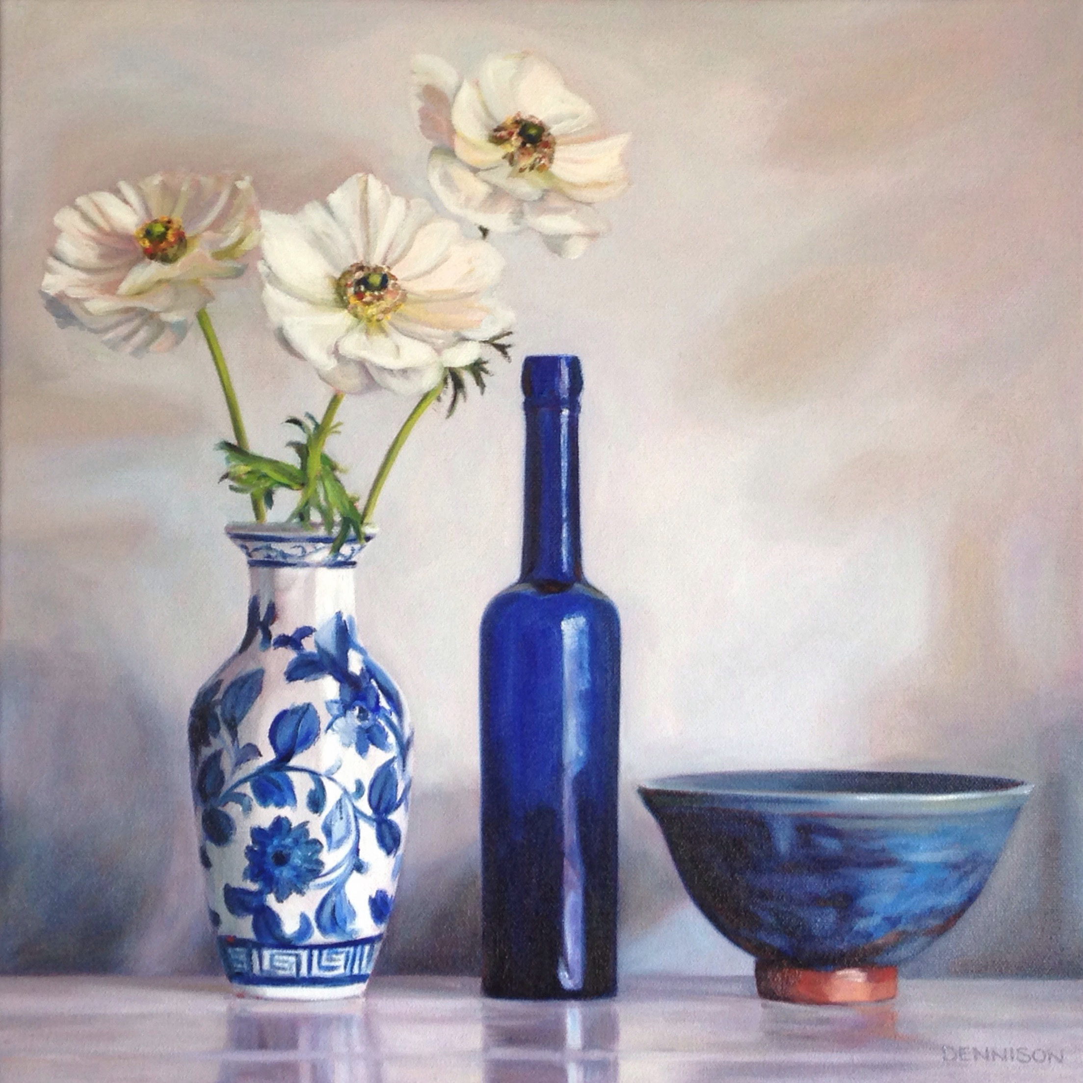 Blue Bottle and White Anemones   Oil on Canvas, 41cm x 41cm