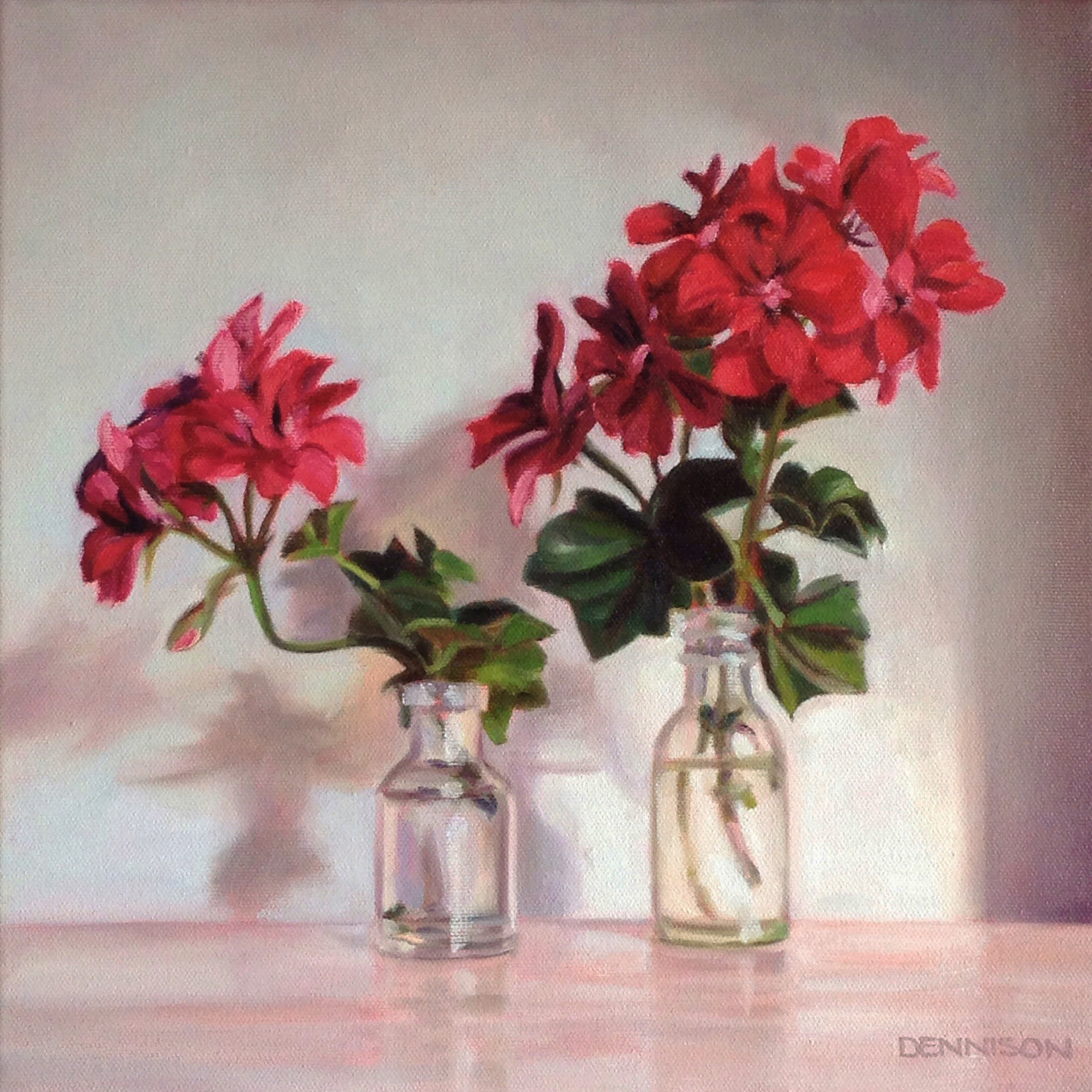 Lila's Pelargoniums   Oil on Canvas, 30cm x 30cm