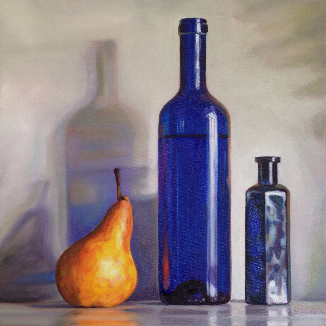 Beurre Bosc and Blue Bottles   Oil on Canvas, 41cm x 41cm