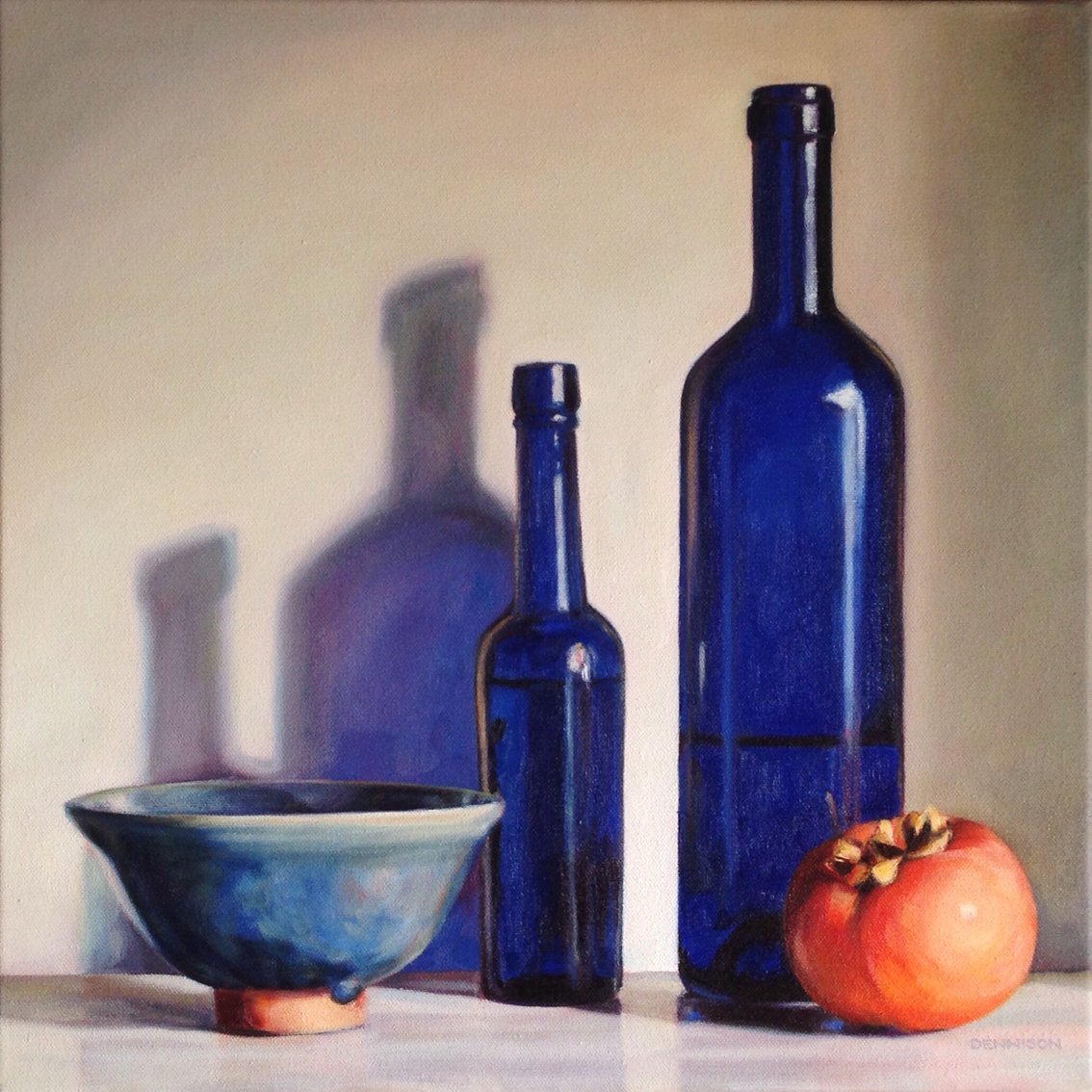 Blue Still Life with Persimmon   Oil on Canvas, 41cm x 41cm